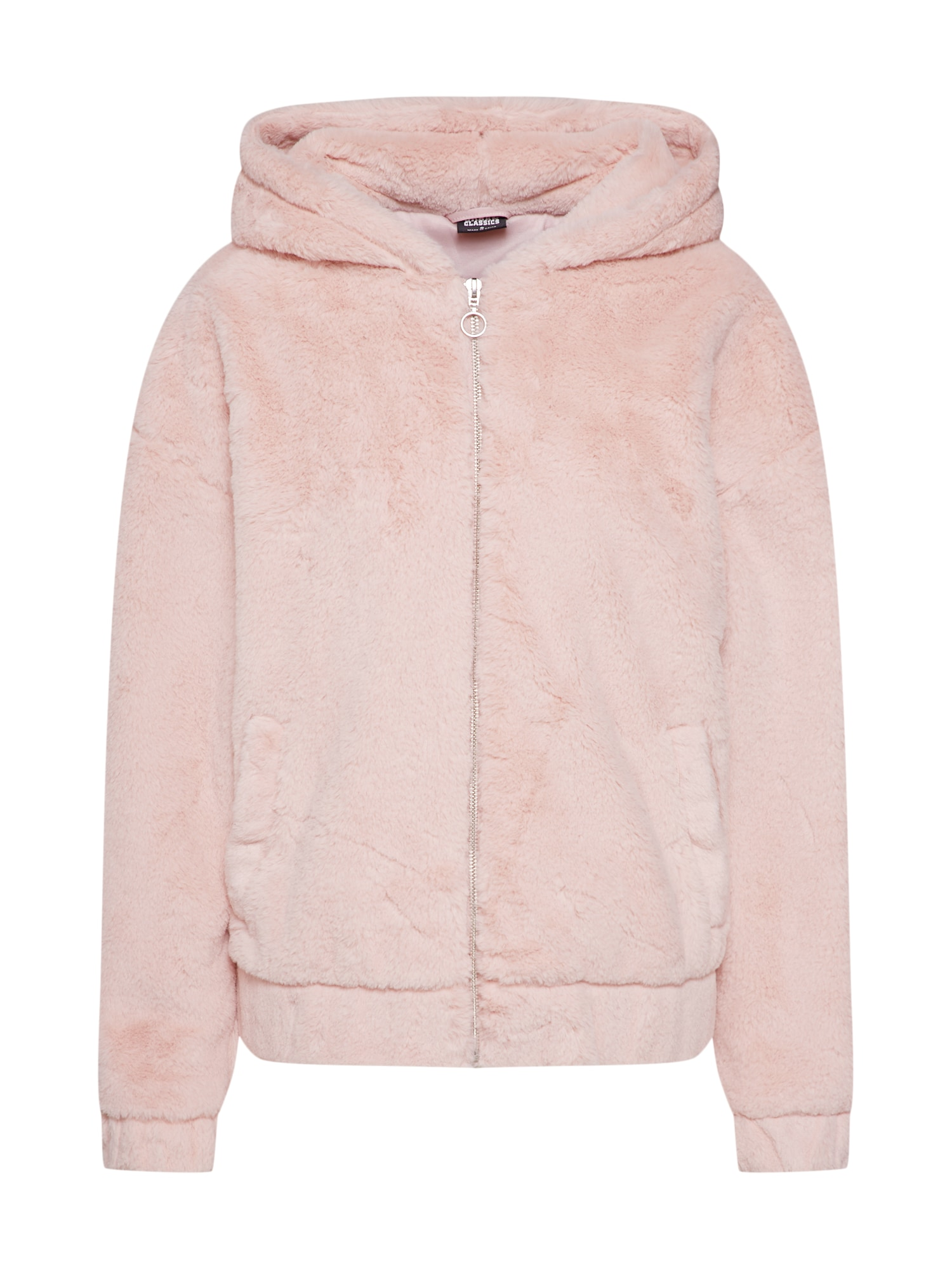 Urban Classics Mikina s kapucí 'Ladies Teddy Jacket'  růžová
