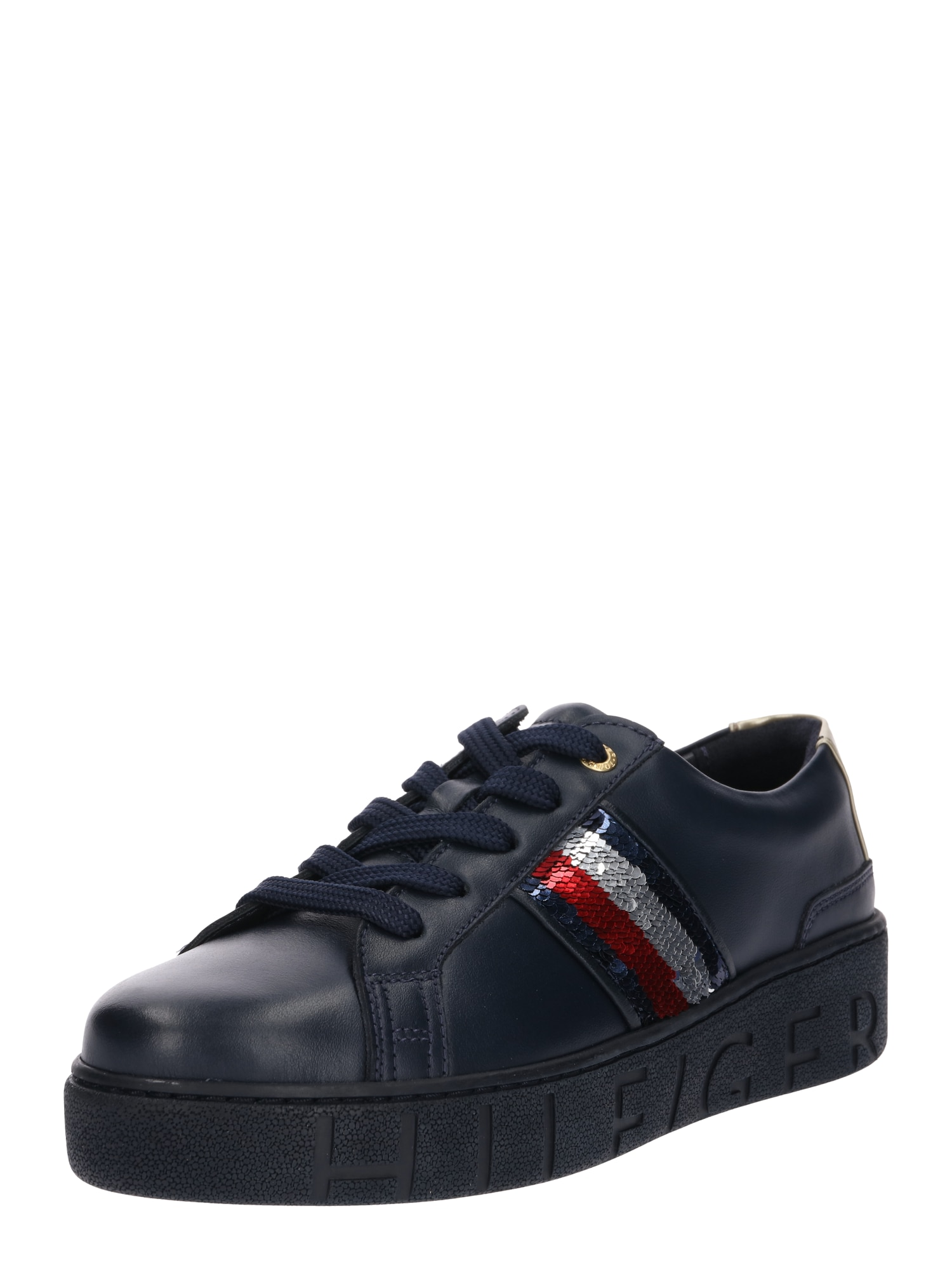 TOMMY HILFIGER, Dames Sneakers laag 'TOMMY SEQUINS', navy / grijs / rood