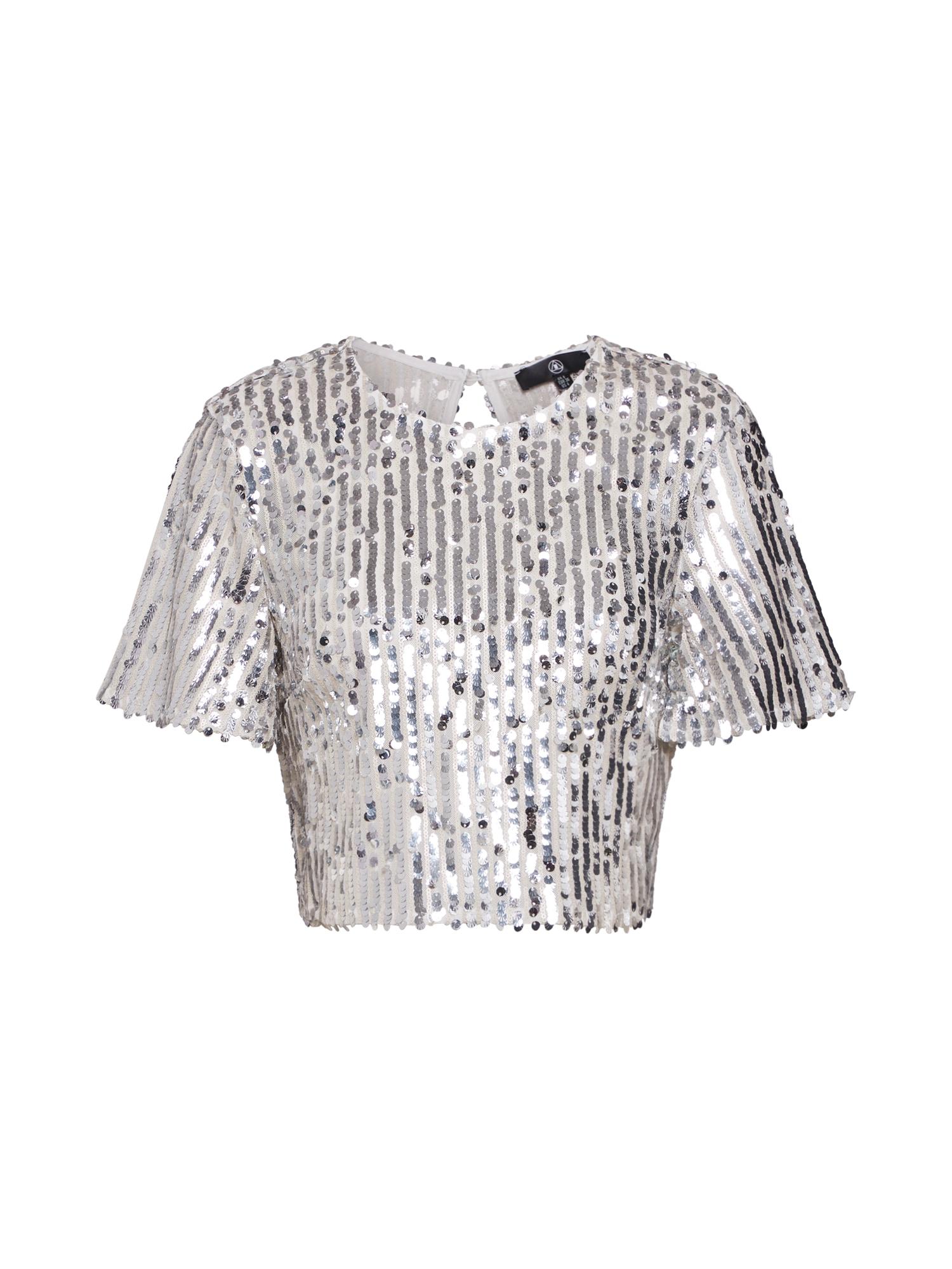 Tričko Sequin Crop Top Co Ord stříbrná Missguided