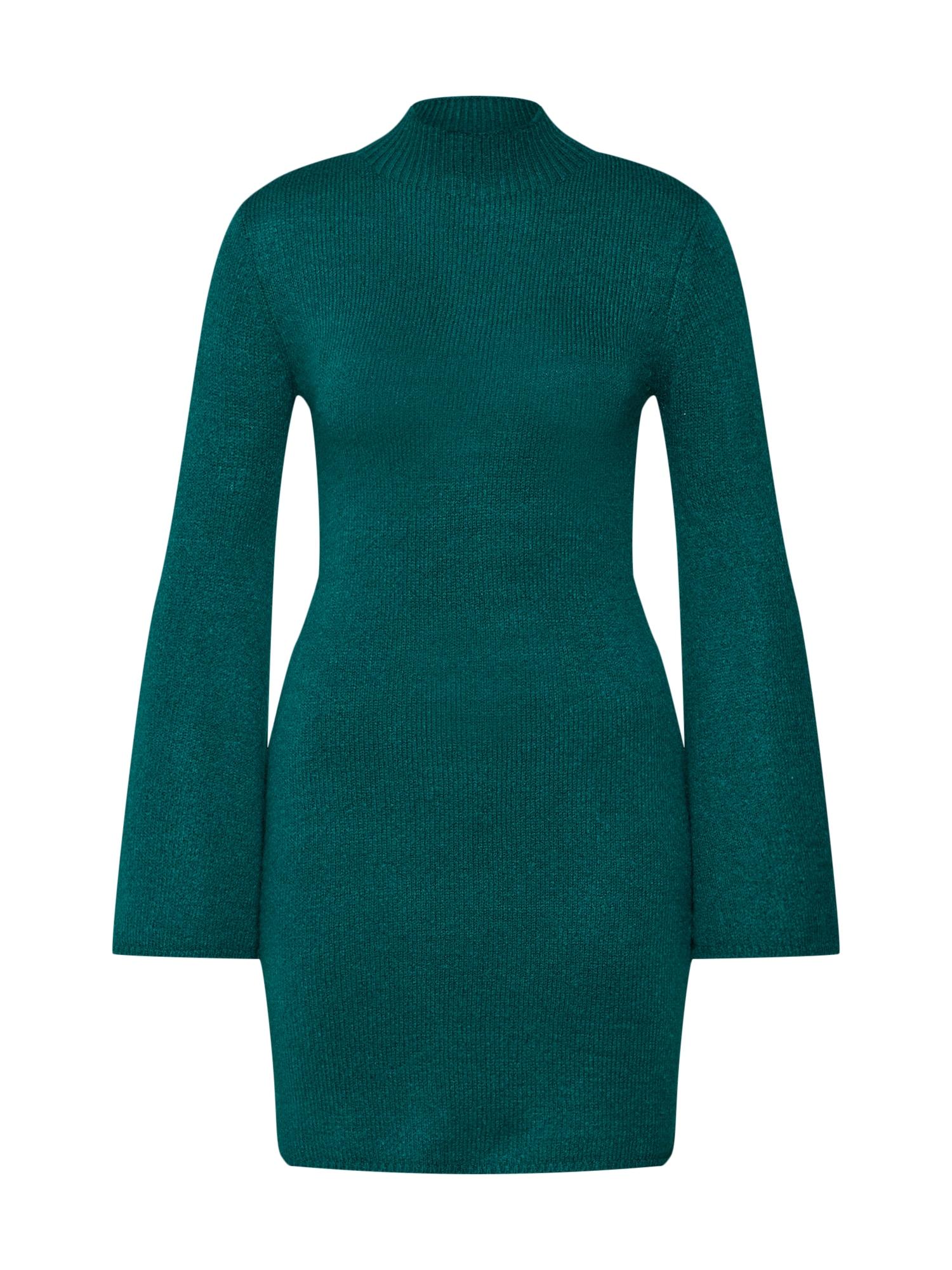 Úpletové šaty TASH petrolejová Bardot