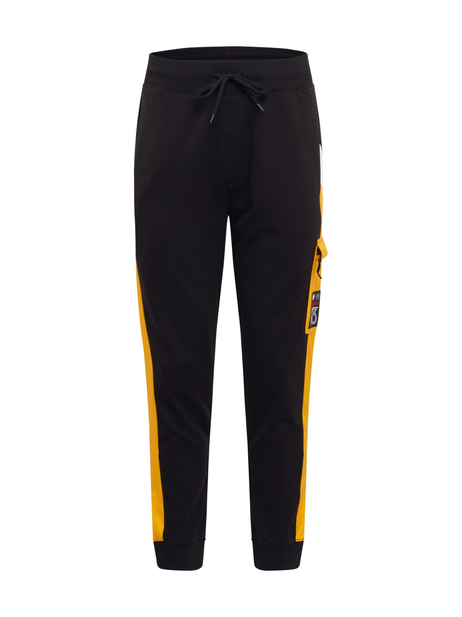 HUGO Kalhoty 'Duniversal'  černá / žlutá