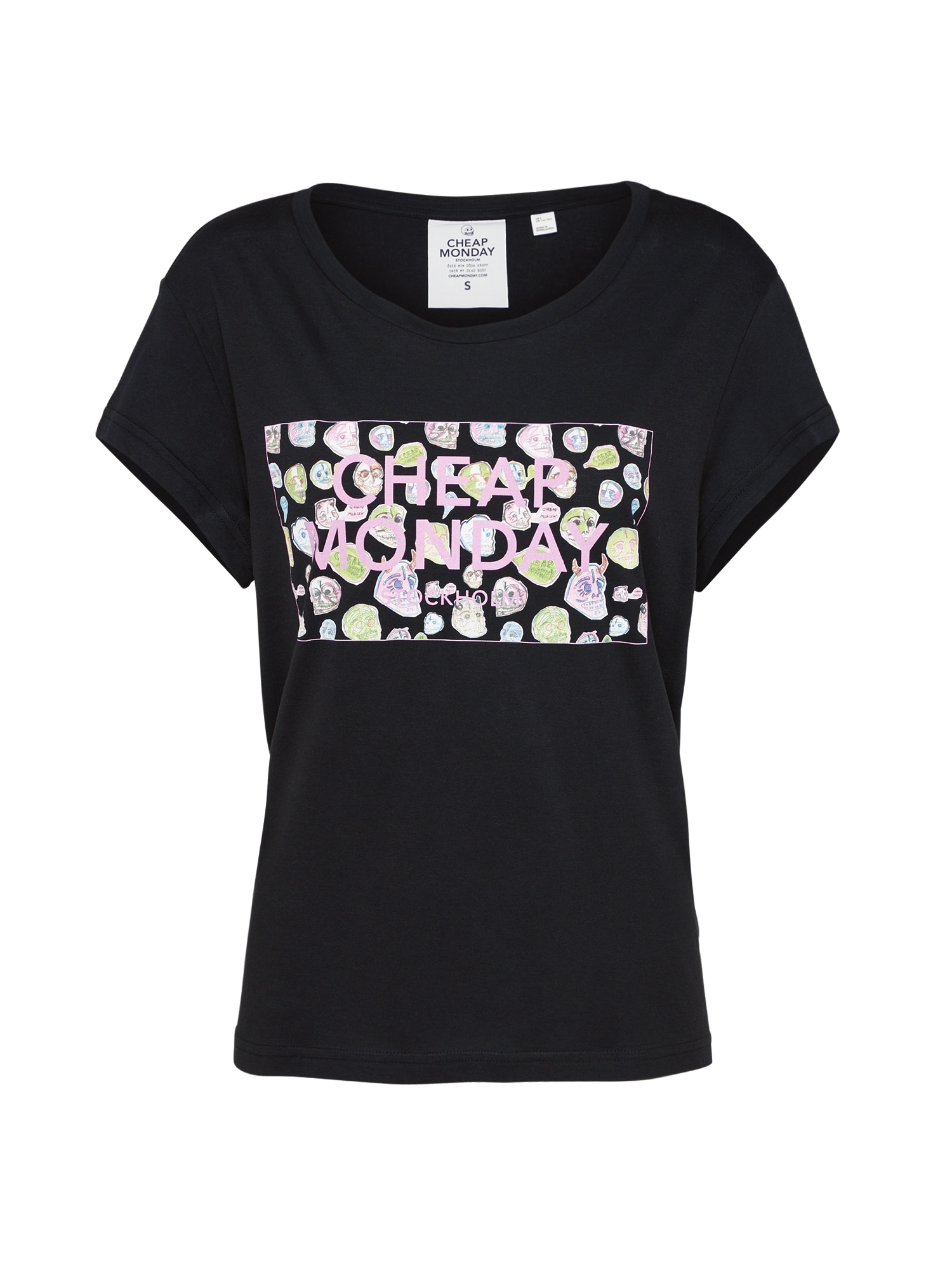 CHEAP MONDAY Dames Shirt Have tee Logo box gemengde kleuren zwart