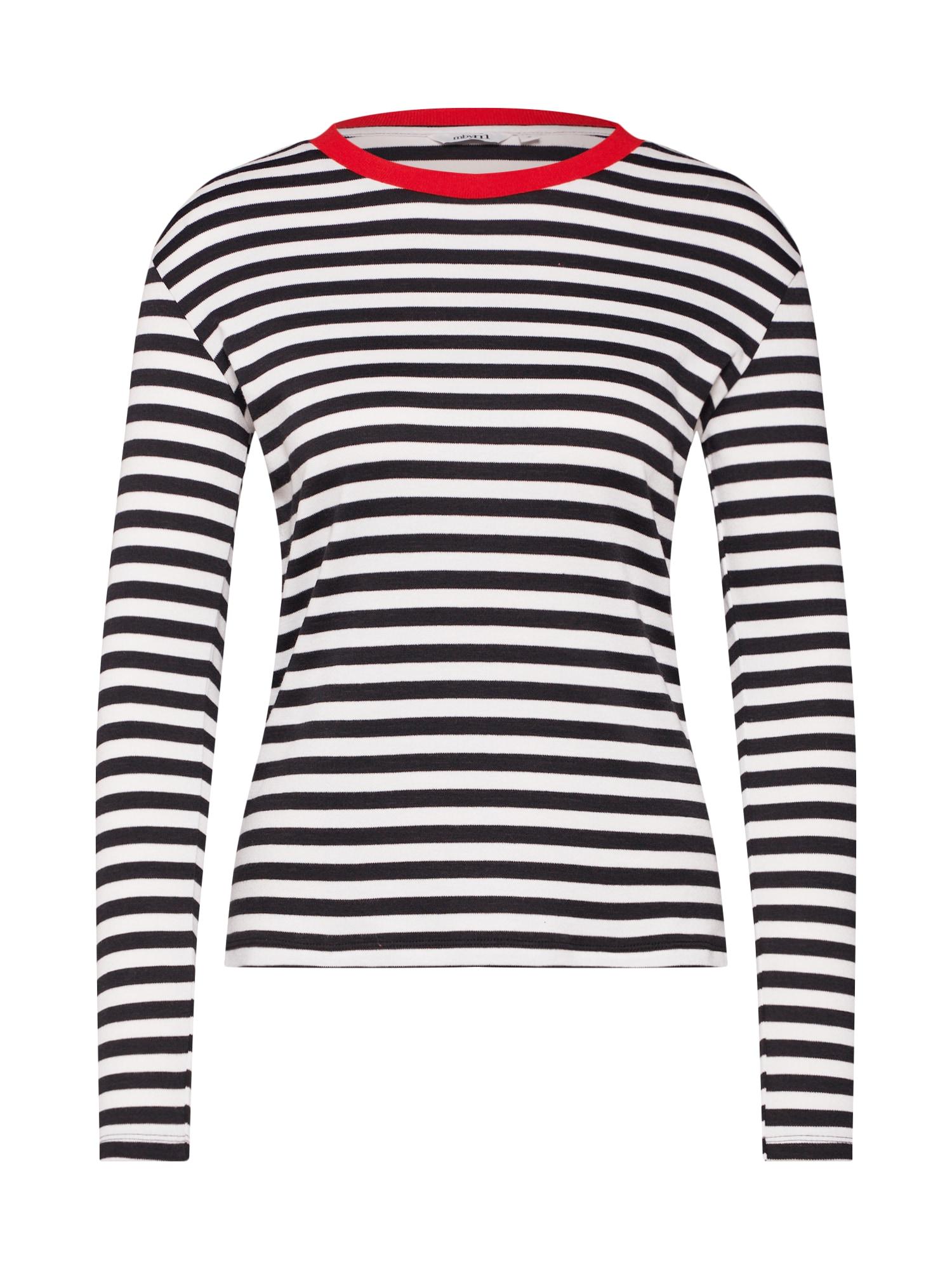 Mbym Tričko 'Lindsay Contrast'  bílá / černá