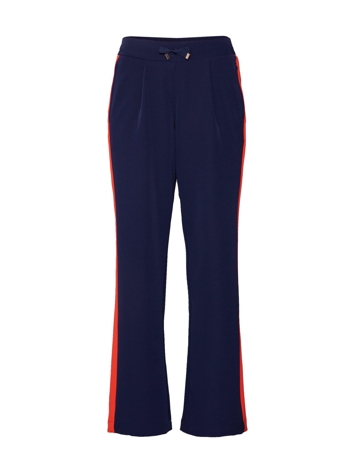 Kalhoty se sklady v pase tmavě modrá oranžově červená TOM TAILOR DENIM