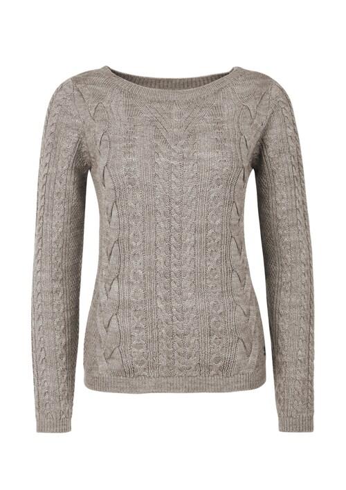 Zopfstrick-Pullover aus Woll-Mix