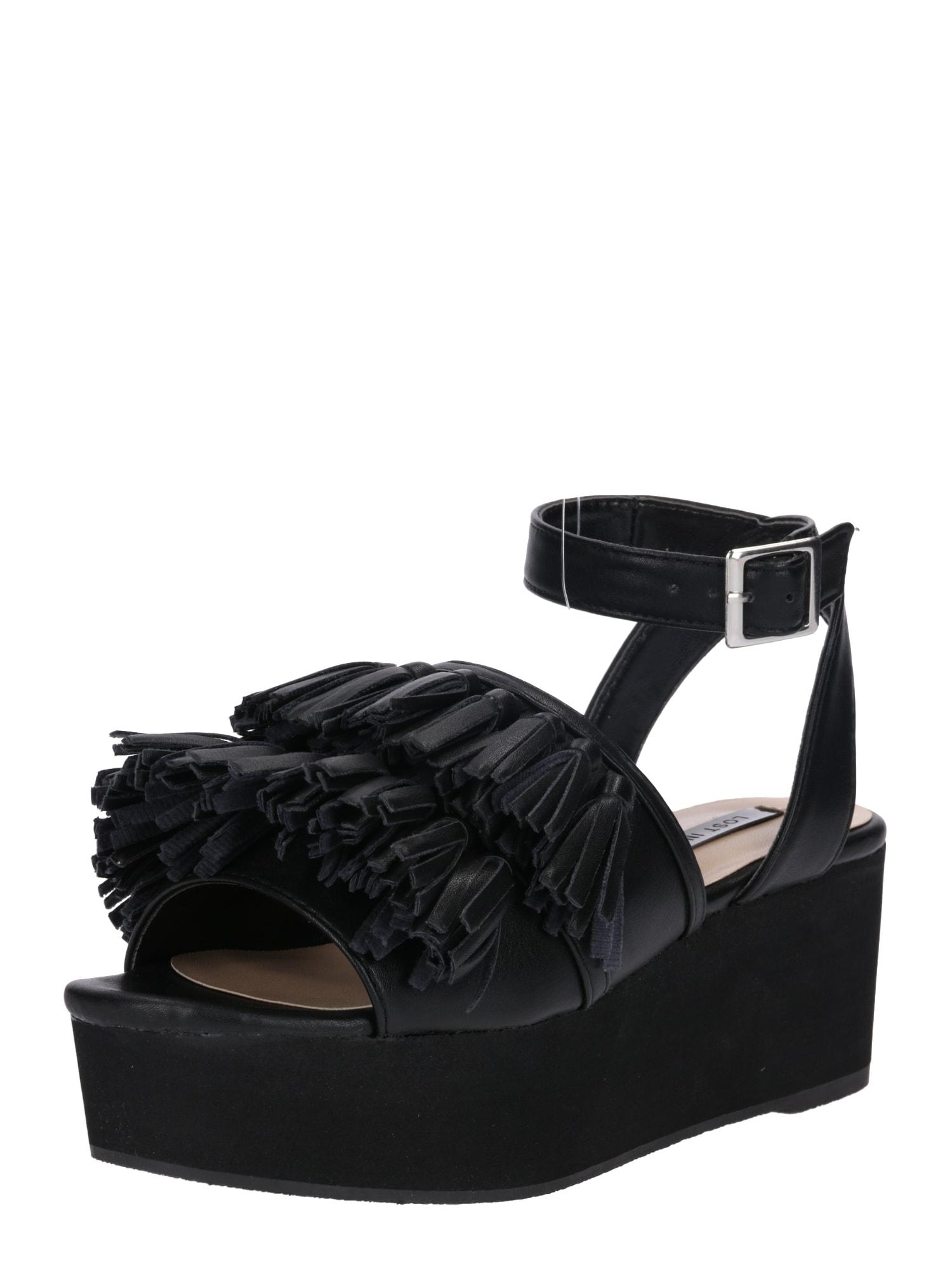 Páskové sandály černá Lost Ink