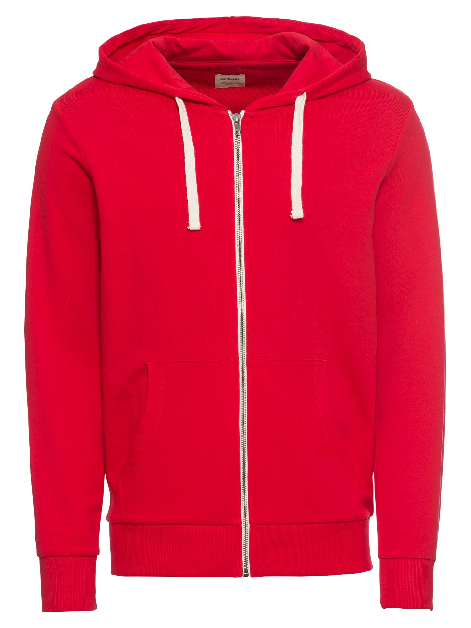 Mikina s kapucí Eholmen červená bílá JACK & JONES