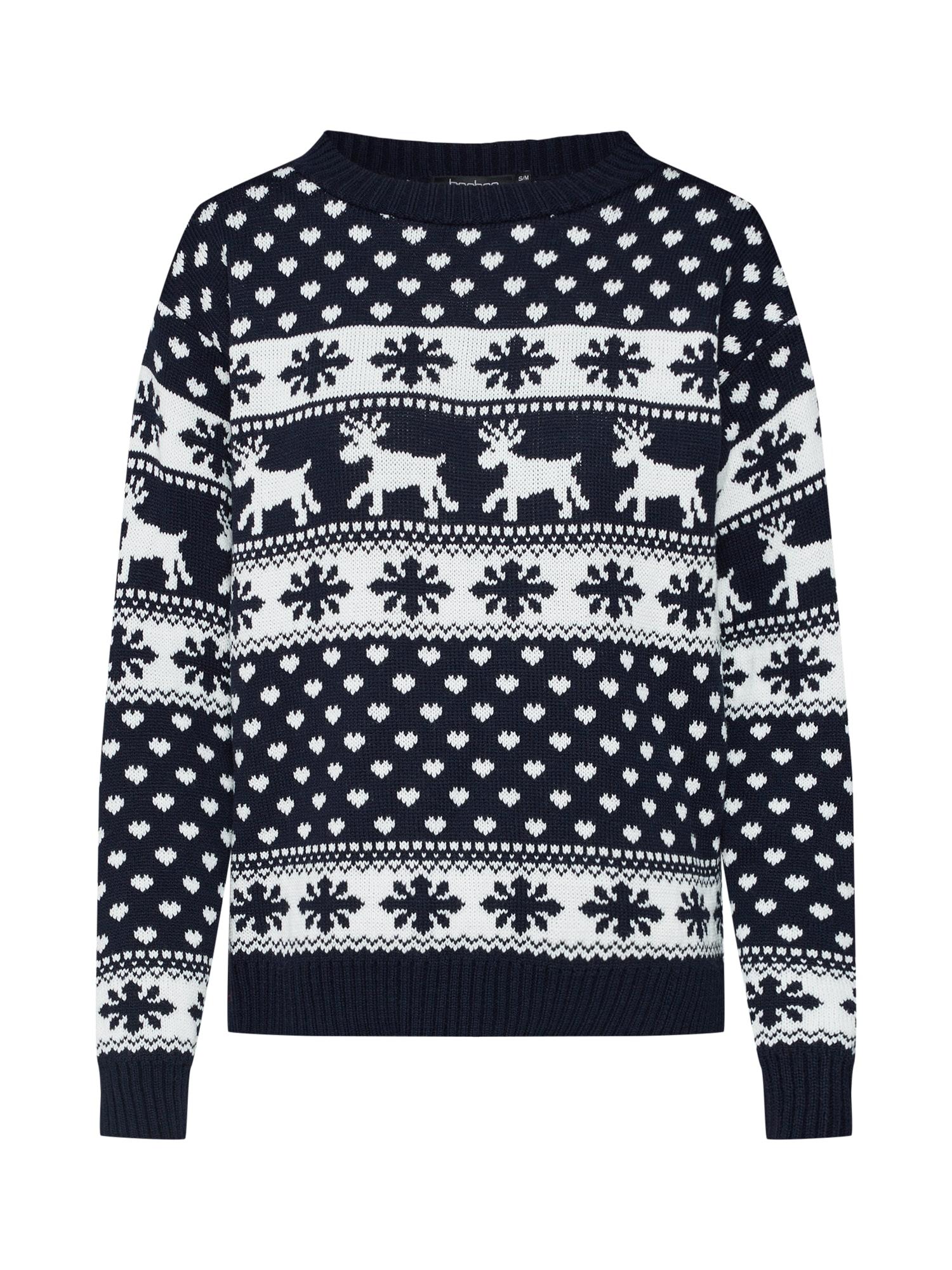 Svetr Reindeer & Snowflake Christmas Jumper námořnická modř bílá Boohoo