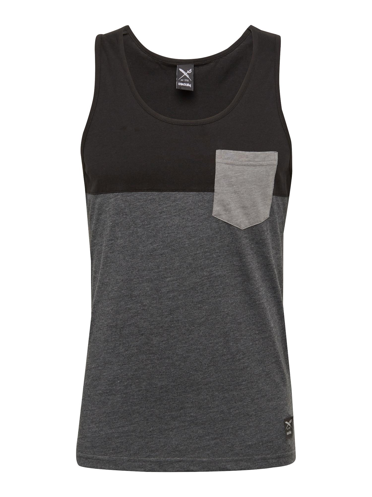 Tričko tmavě šedá černá Iriedaily