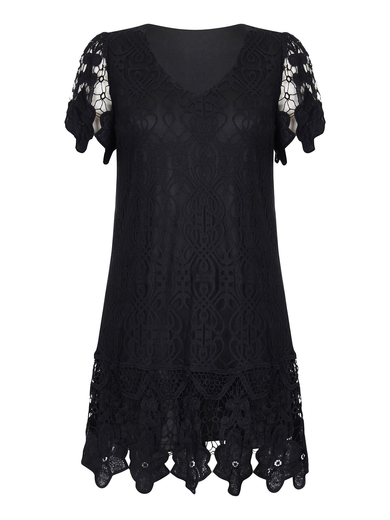 Koktejlové šaty V NECK BORDER LACE DRESS černá Mela London