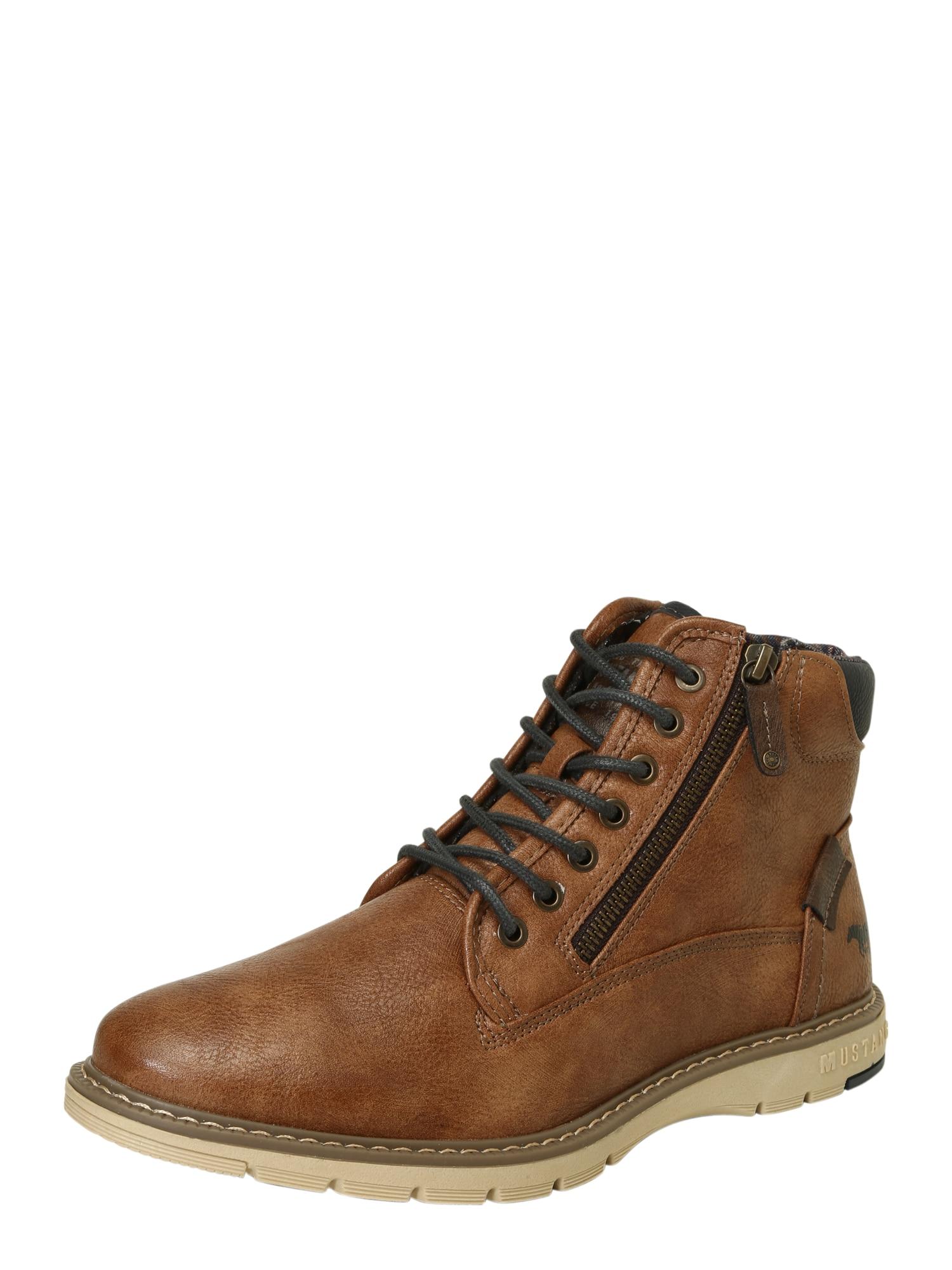 MUSTANG Šněrovací boty  tmavě modrá / okrová / tmavě hnědá