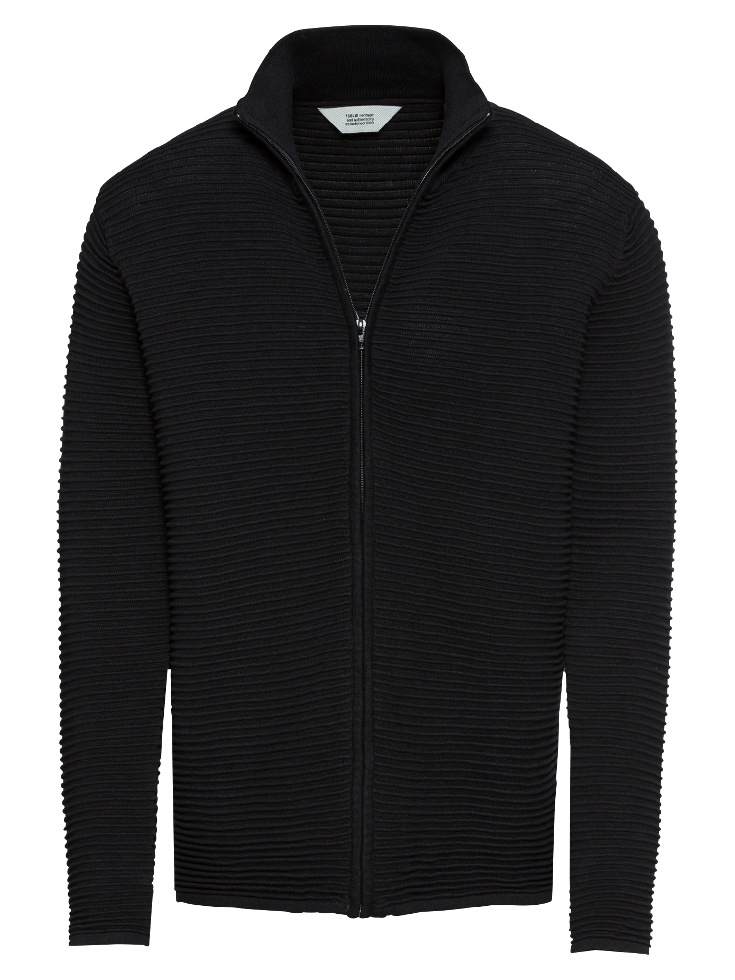 Kardigan Knit - Struan Zip černá !Solid
