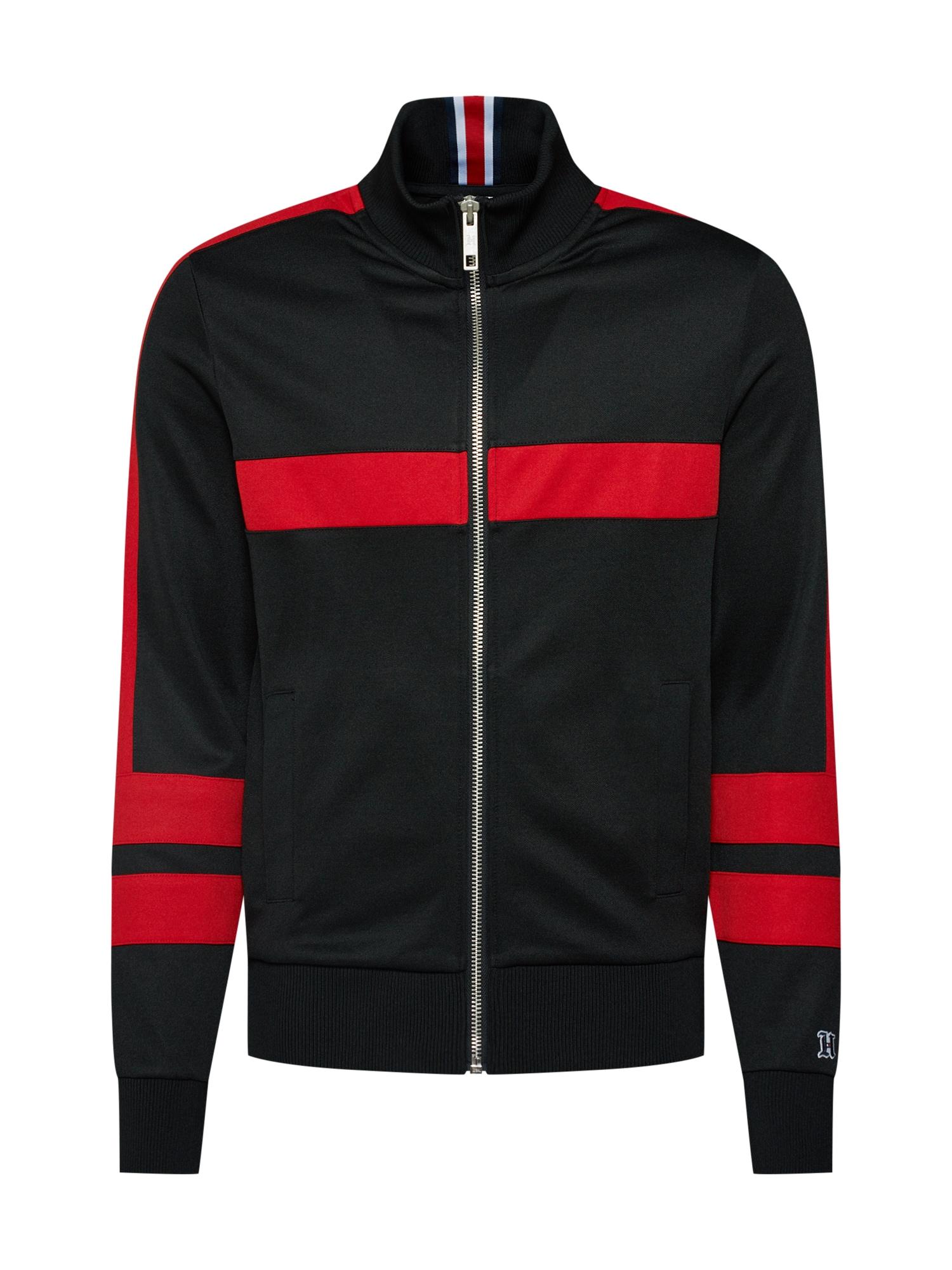 Mikina s kapucí LEWIS HAMILTON červená černá TOMMY HILFIGER