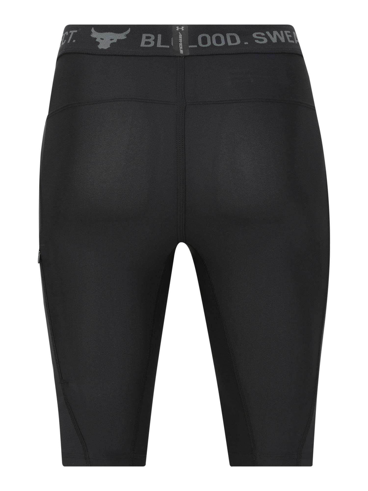 UNDER ARMOUR Sportovní kalhoty 'Project Rock'  tmavě šedá / černá