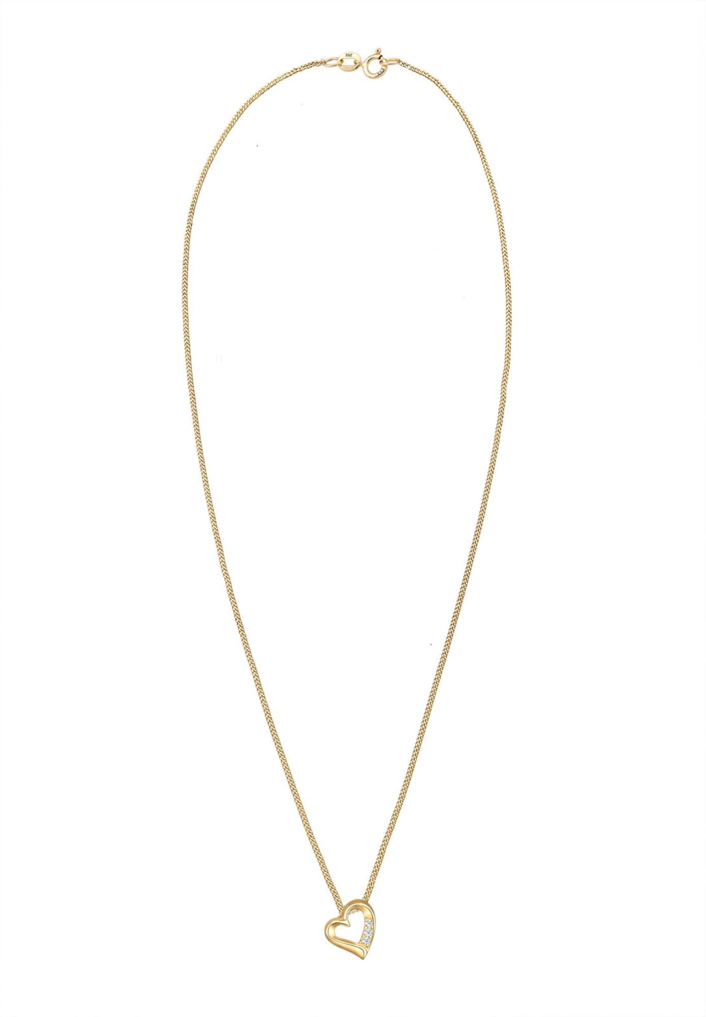 Kette 'Herz' | Schmuck > Halsketten > Herzketten | Gold - Transparent | Diamore