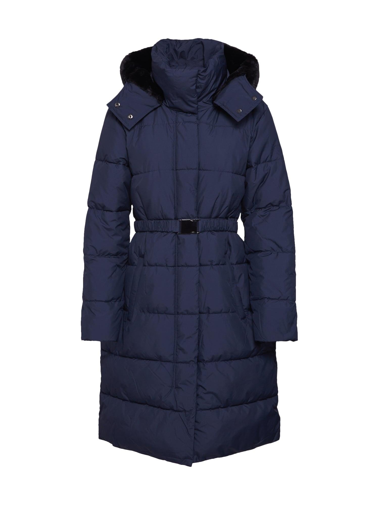 Zimní kabát PUFFER FUR TRIM HOOD námořnická modř Banana Republic