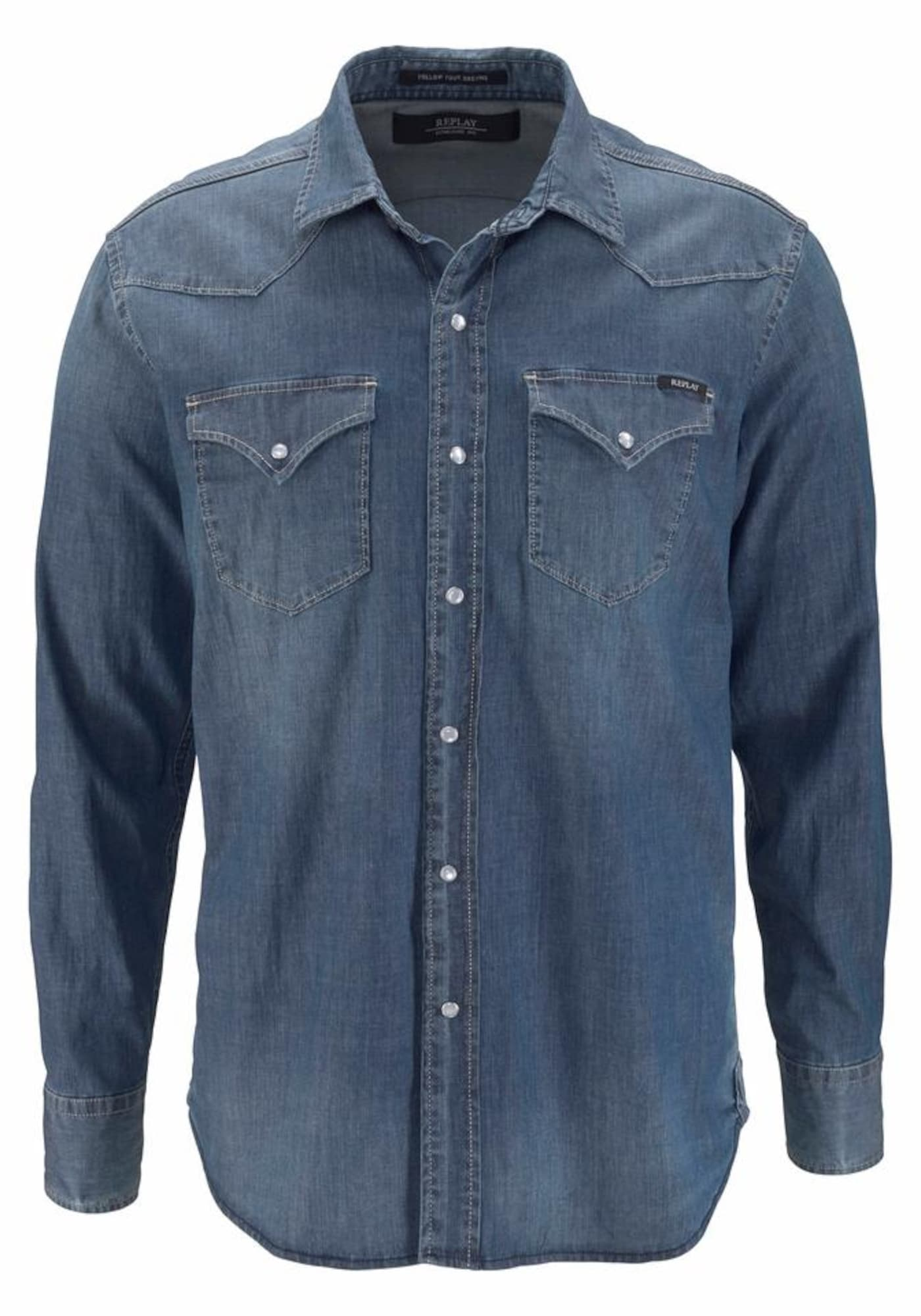 REPLAY Heren Overhemd blue denim