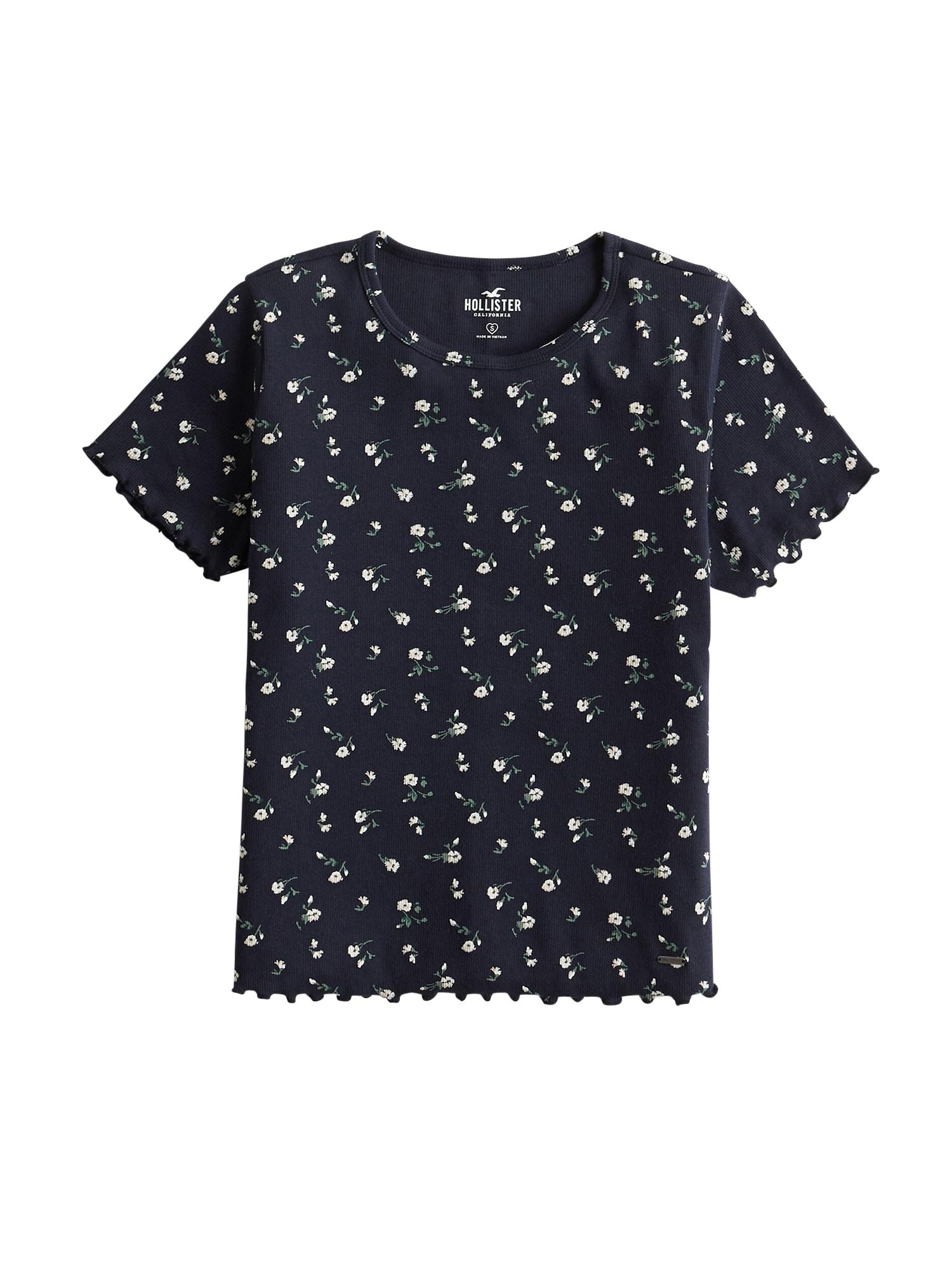 HOLLISTER Tričko  bílá / světlemodrá