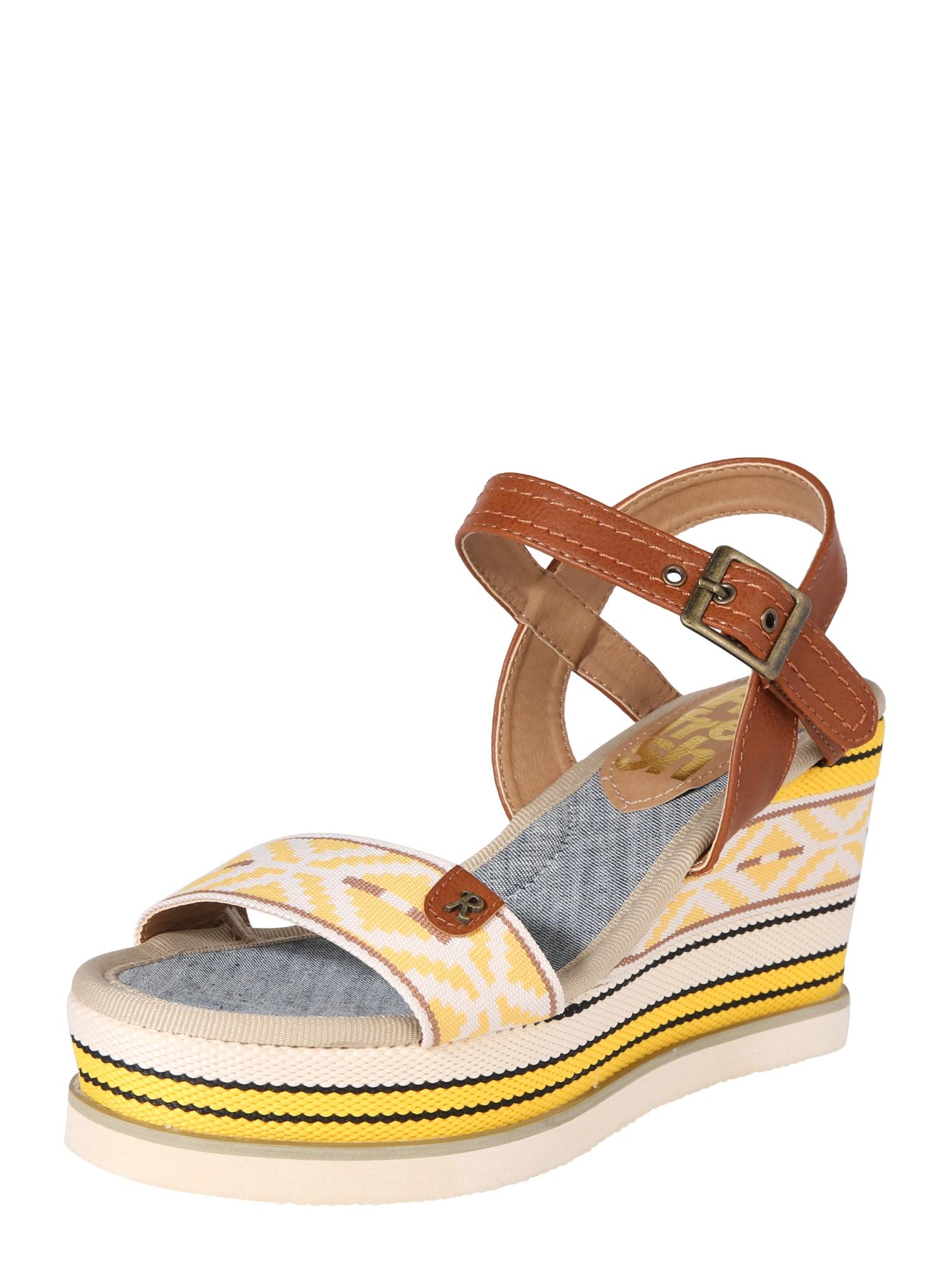 Sandály CANVAS béžová hnědá žlutá Refresh