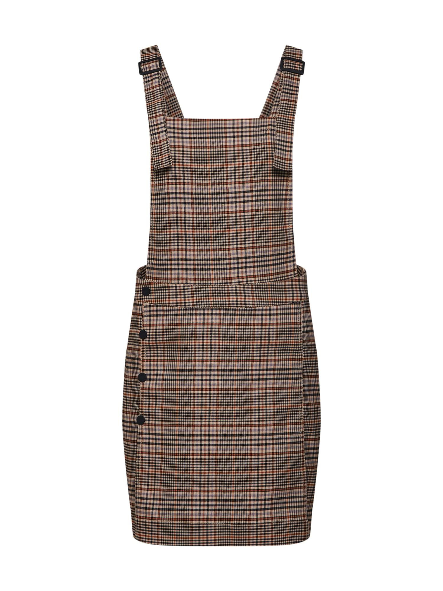 Laclová sukně CHECK DUNGAREEDR béžová hnědá Review