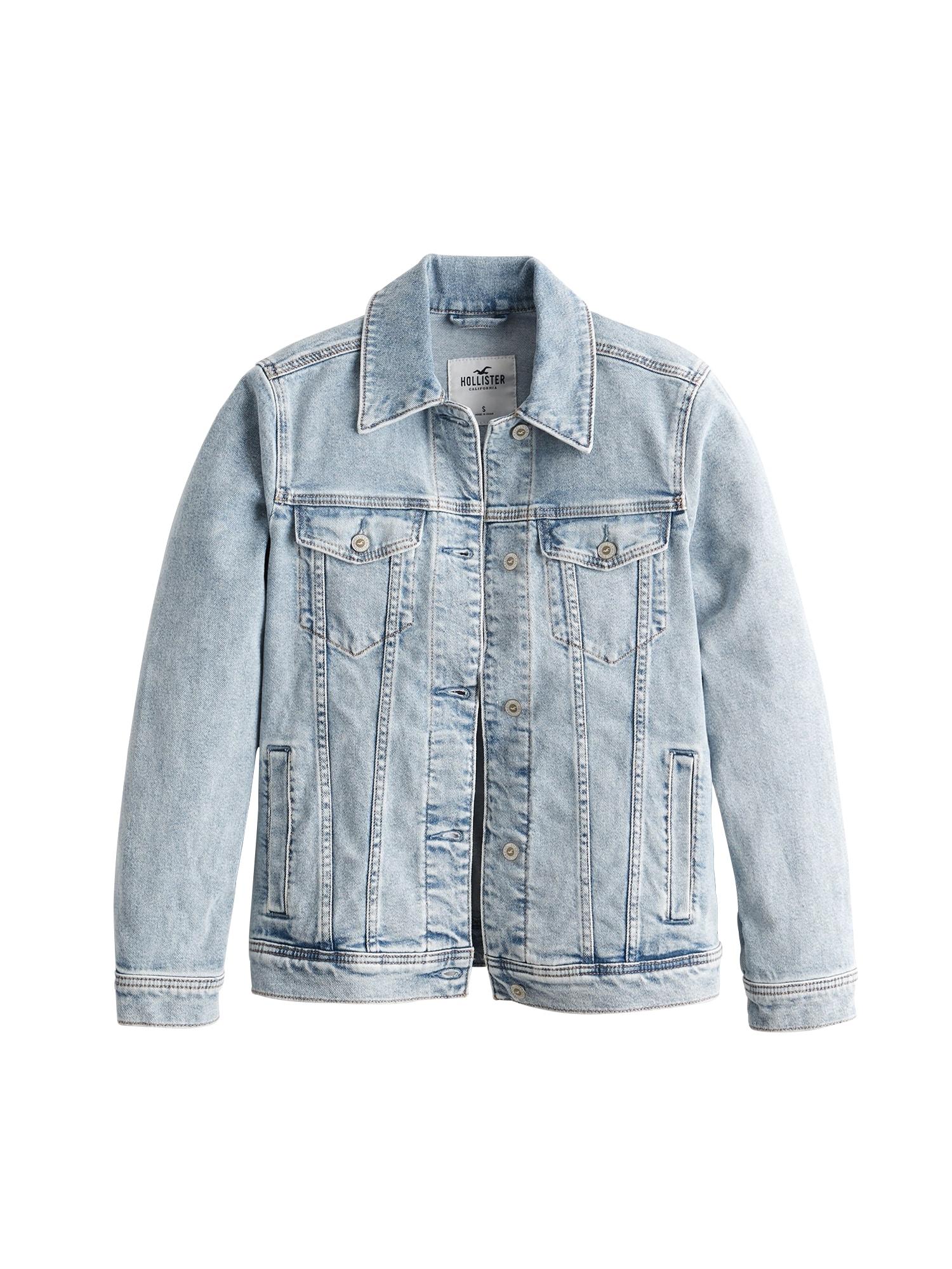 Přechodná bunda Boyfriend modrá džínovina HOLLISTER