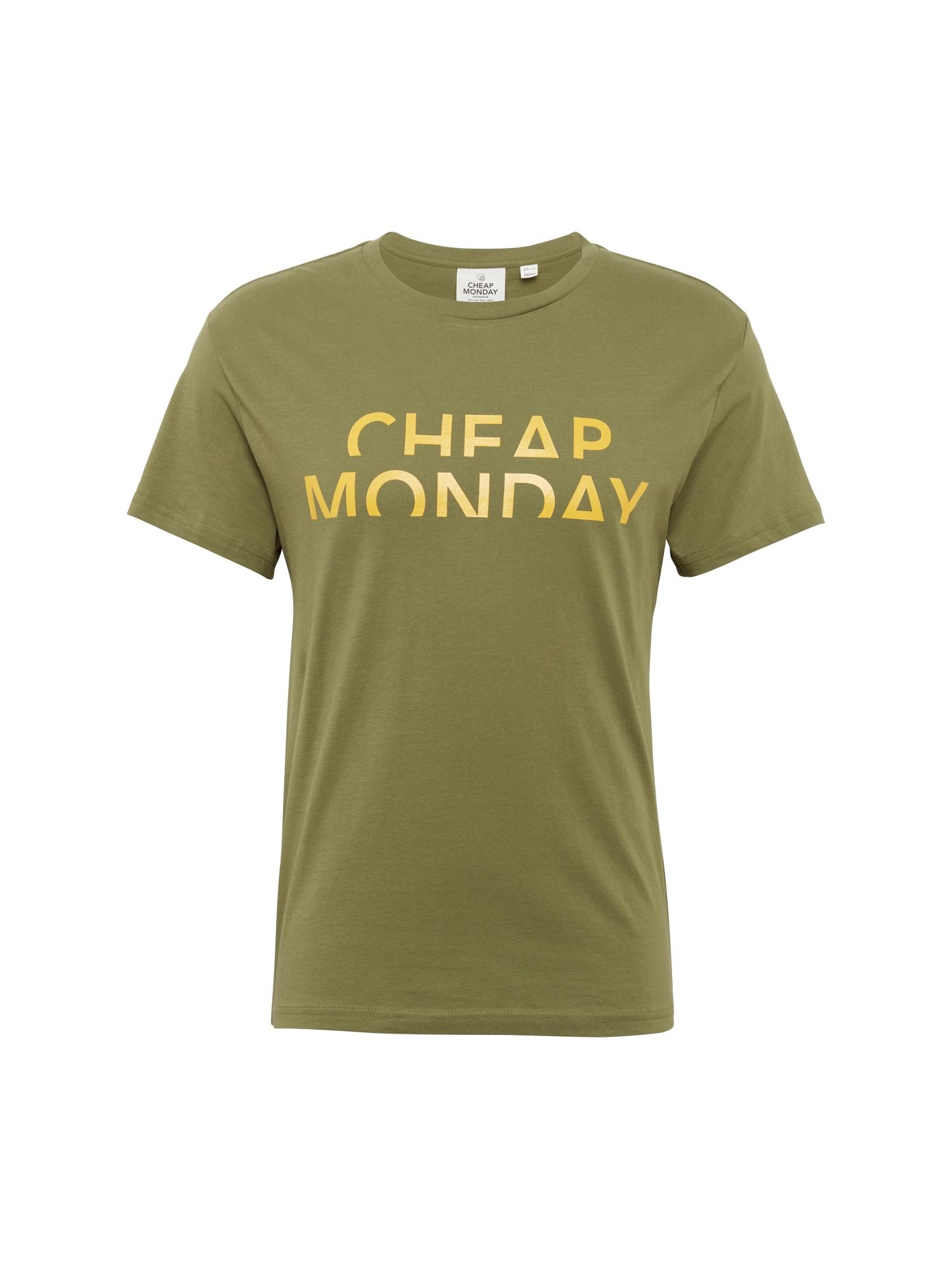 CHEAP MONDAY Heren Shirt Standard tee Spliced cheap geel olijfgroen