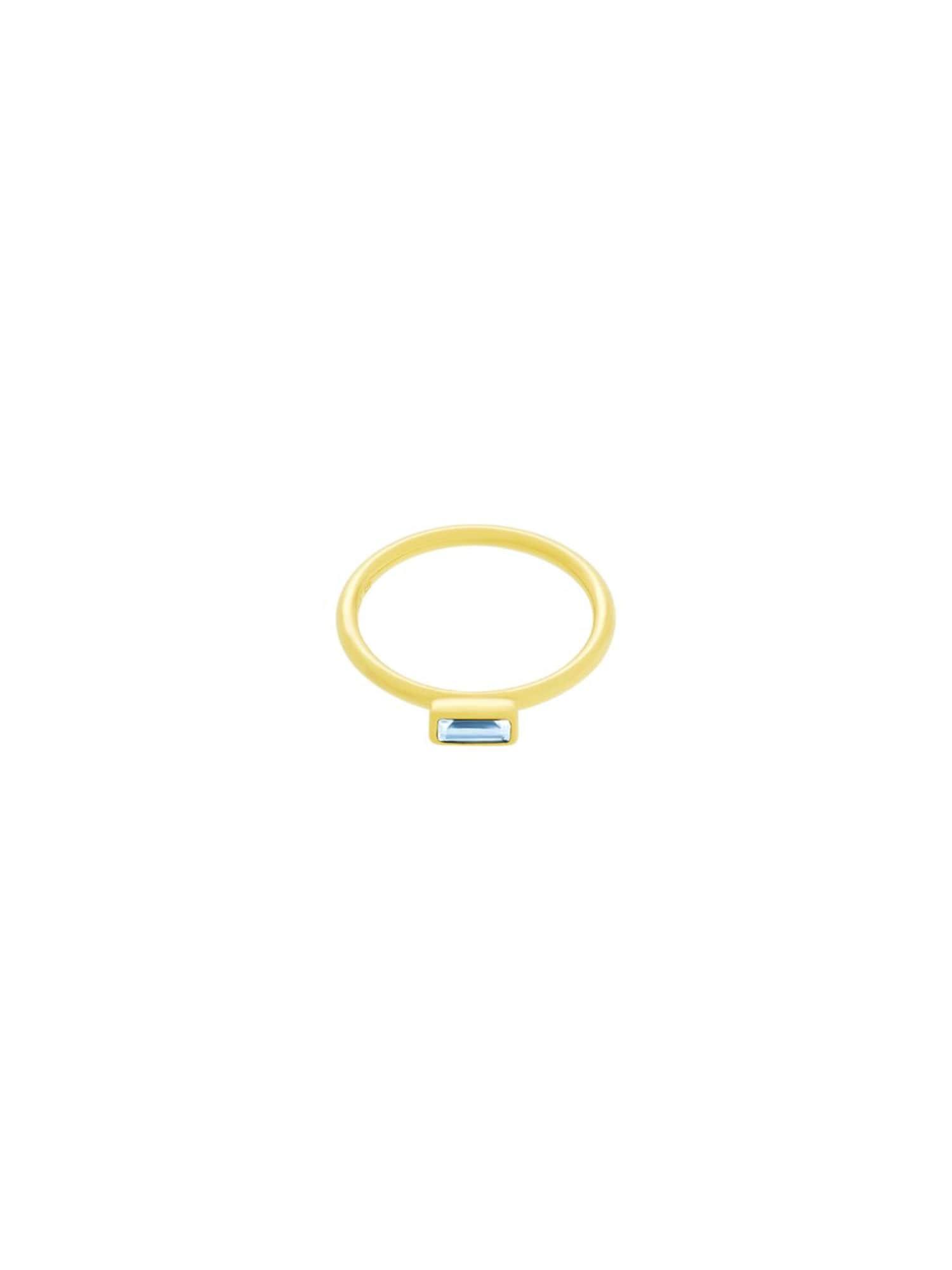 ID Fine, Dames Ring 'Baguette', lichtblauw / goud