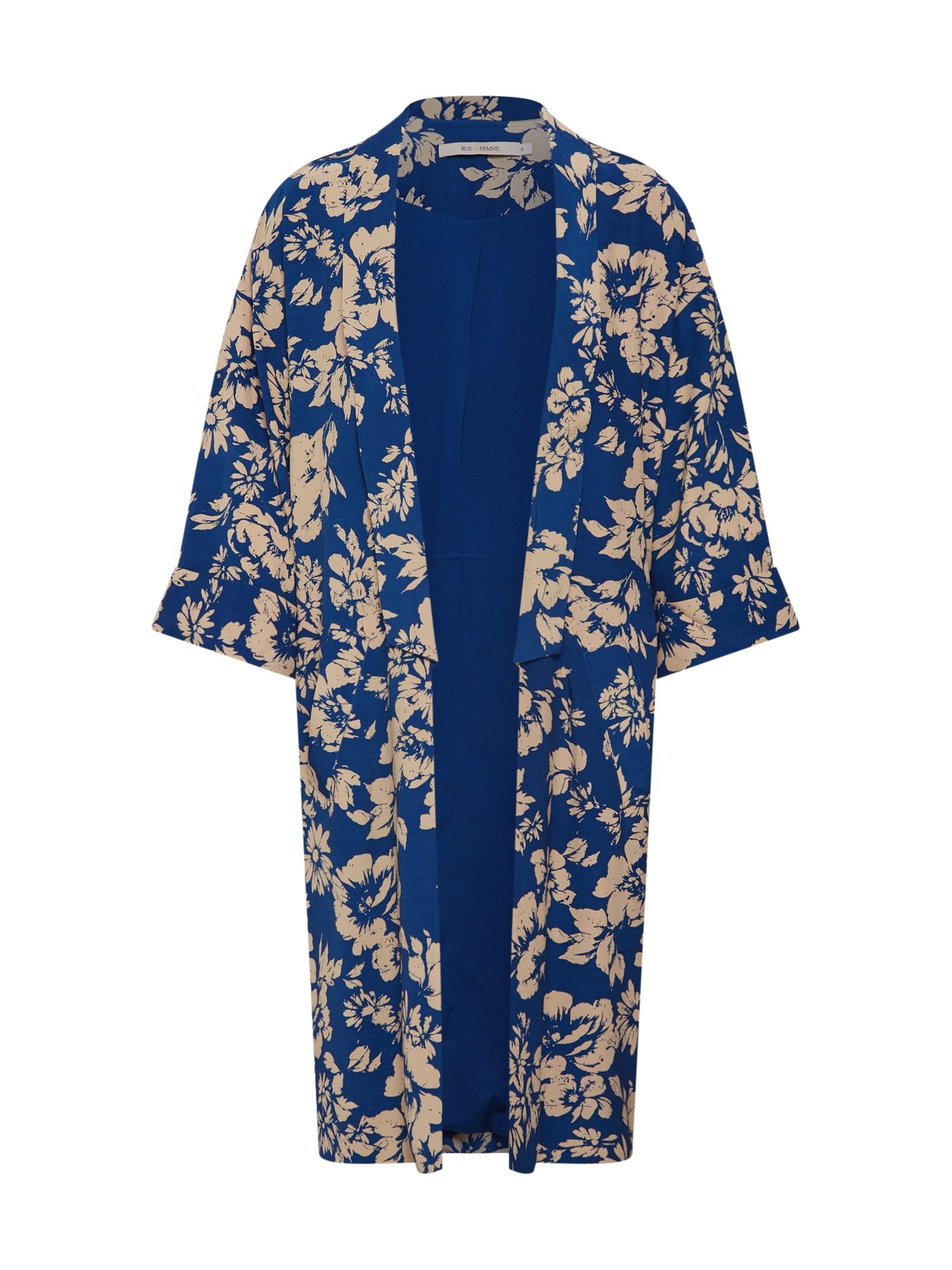 RUE De FEMME, Dames Kimono 'Greacia', beige / donkerblauw
