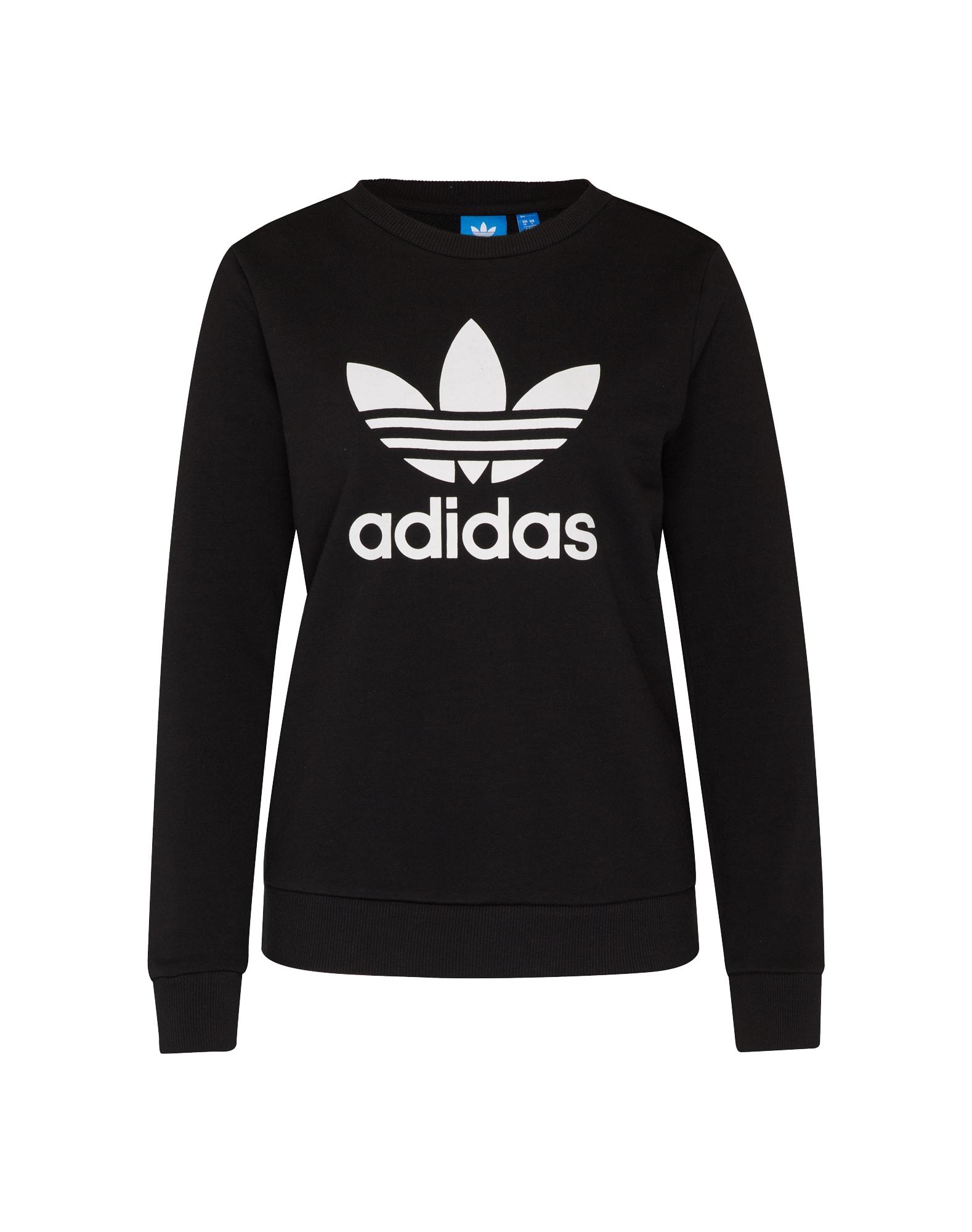 ADIDAS ORIGINALS, Dames Sweatshirt 'TREFOIL CREW', zwart / wit