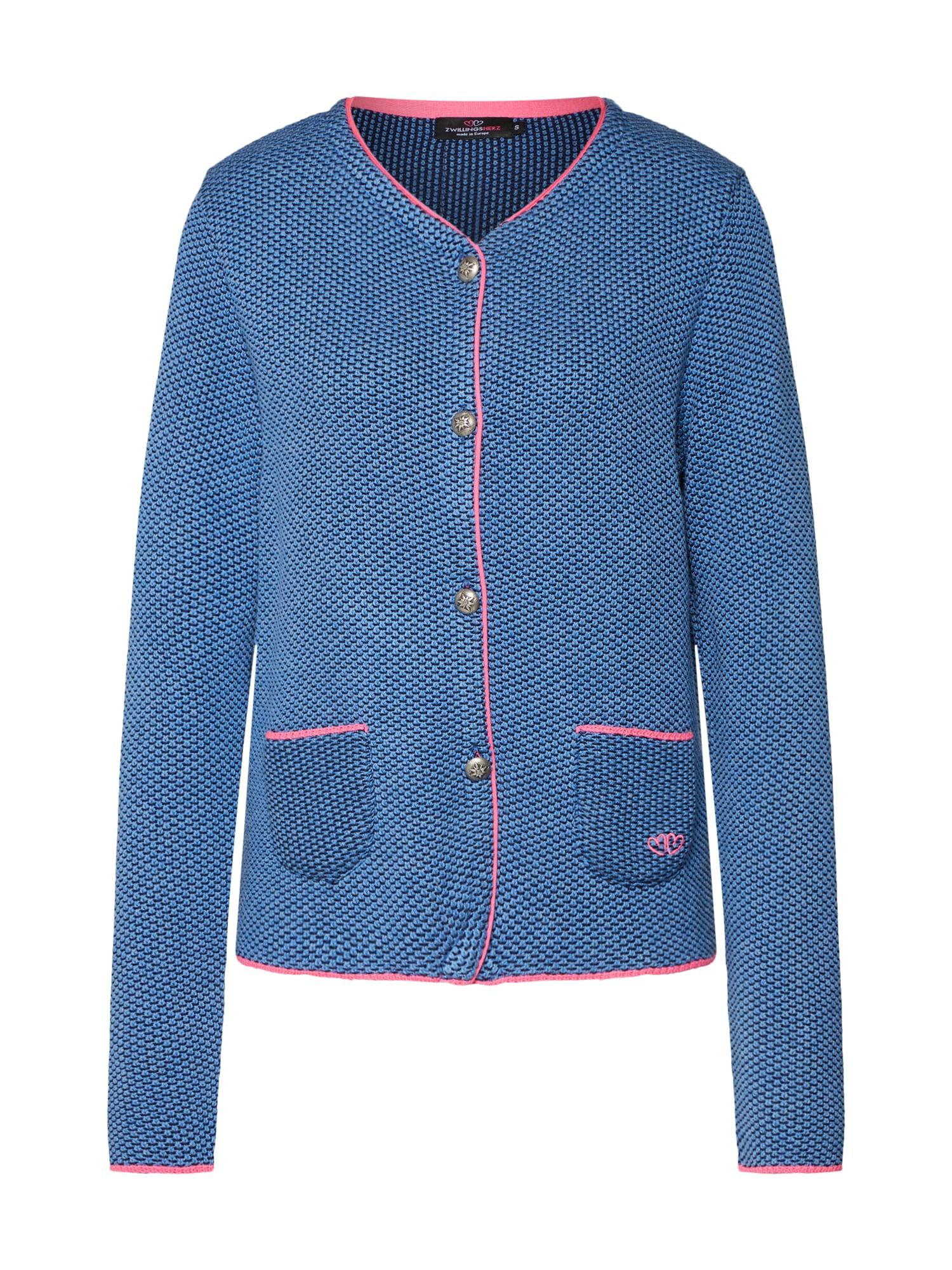 Kardigan kouřově modrá tmavě modrá pink Zwillingsherz
