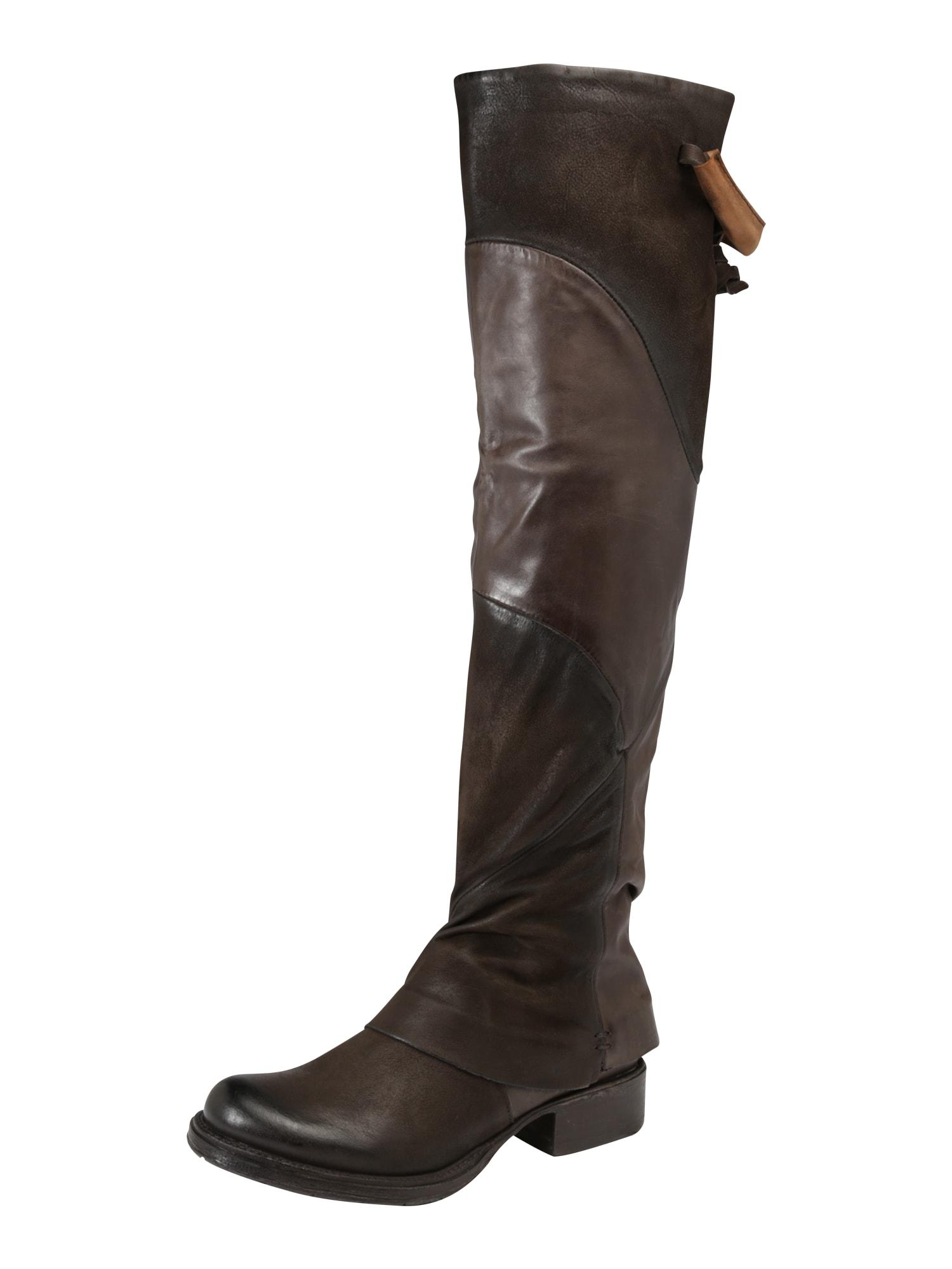 MJUS, Dames Overknee laarzen, donkerbruin