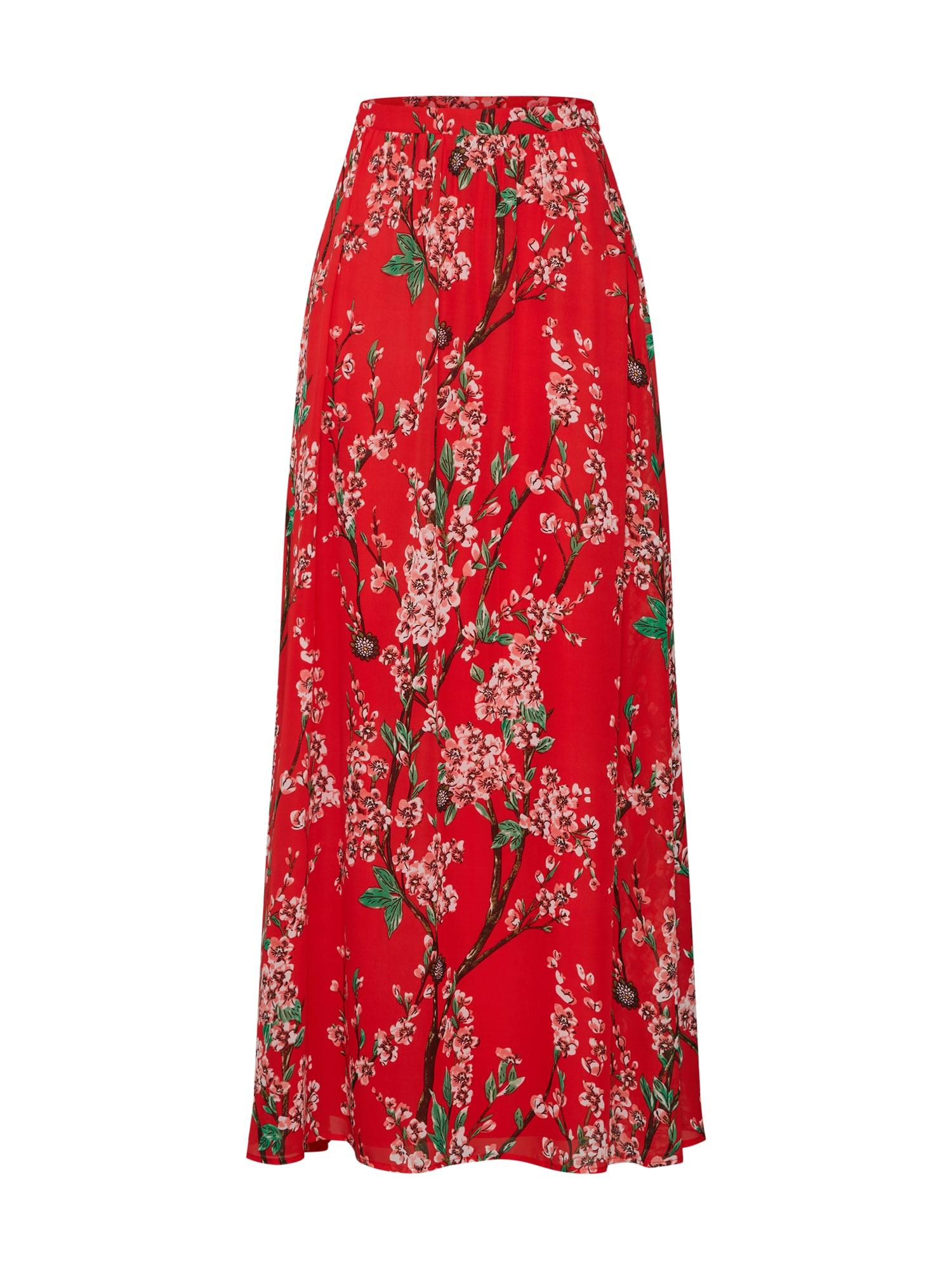 Sukně VIESME HW MAXI SKIRTKA zelená růžová červená VILA