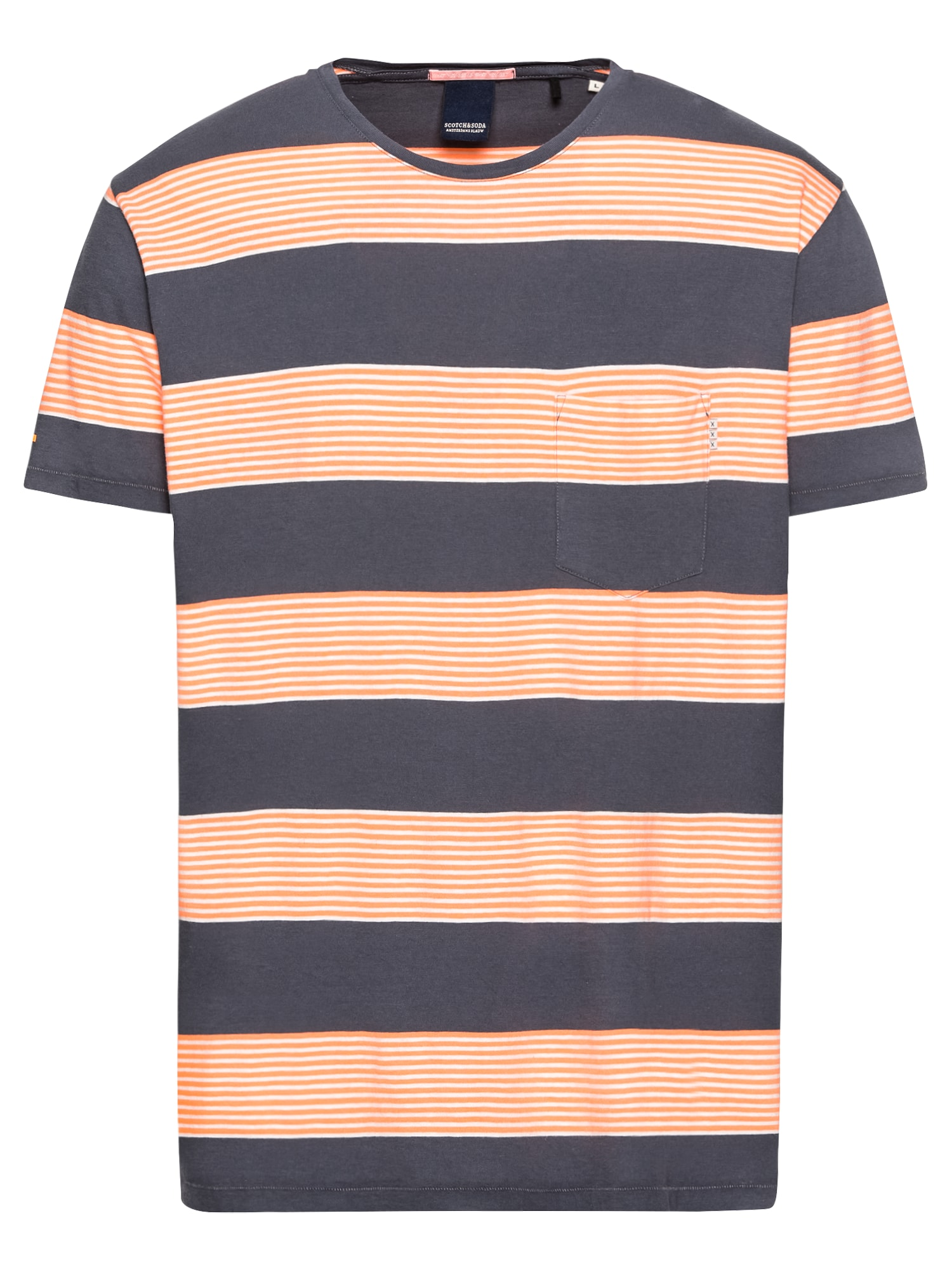 SCOTCH  and  SODA Heren Shirt Ams Blauw 1 pocket regular fit coloured striped tee'