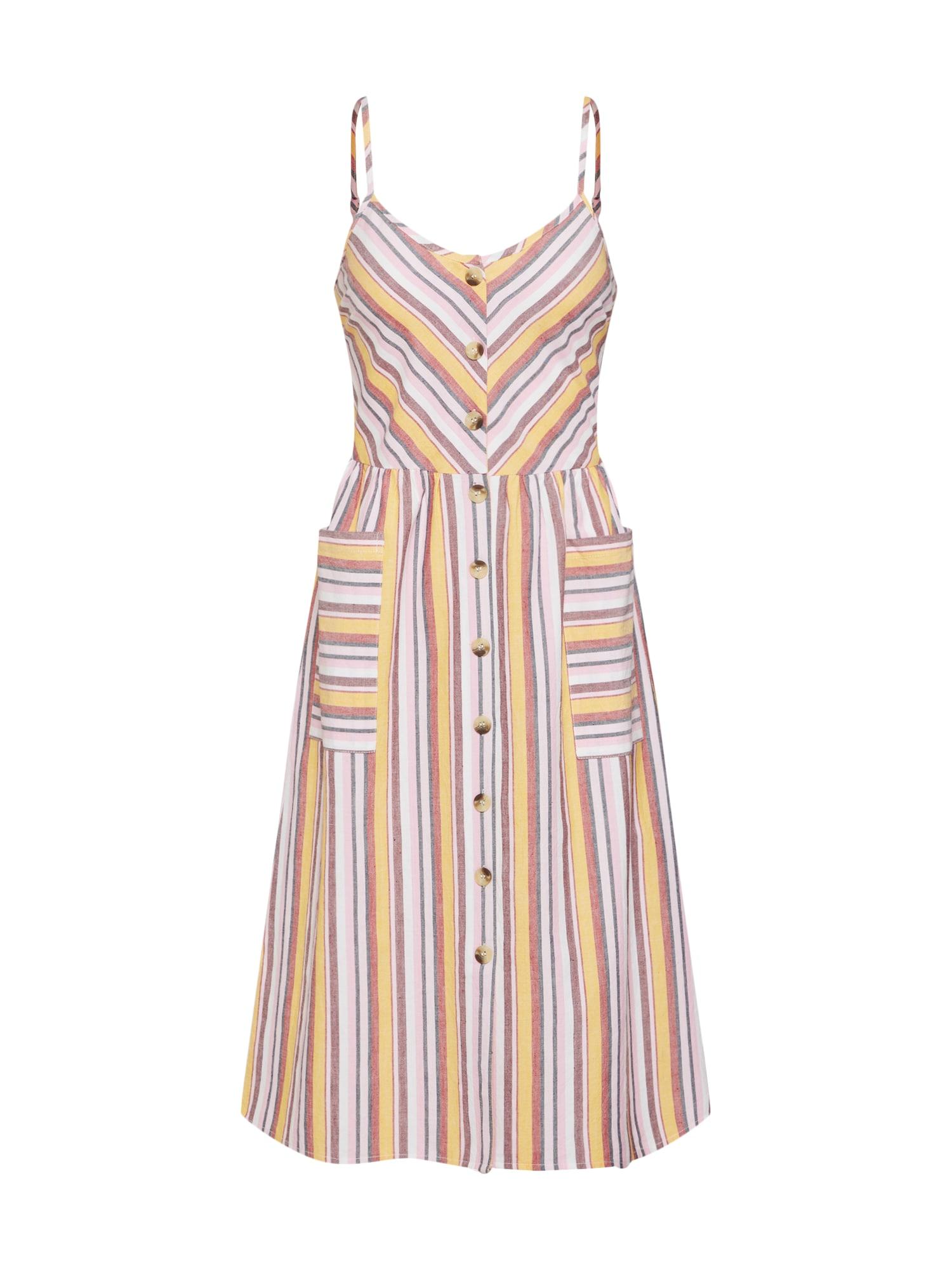 Letní šaty žlutá růžová bílá Boohoo