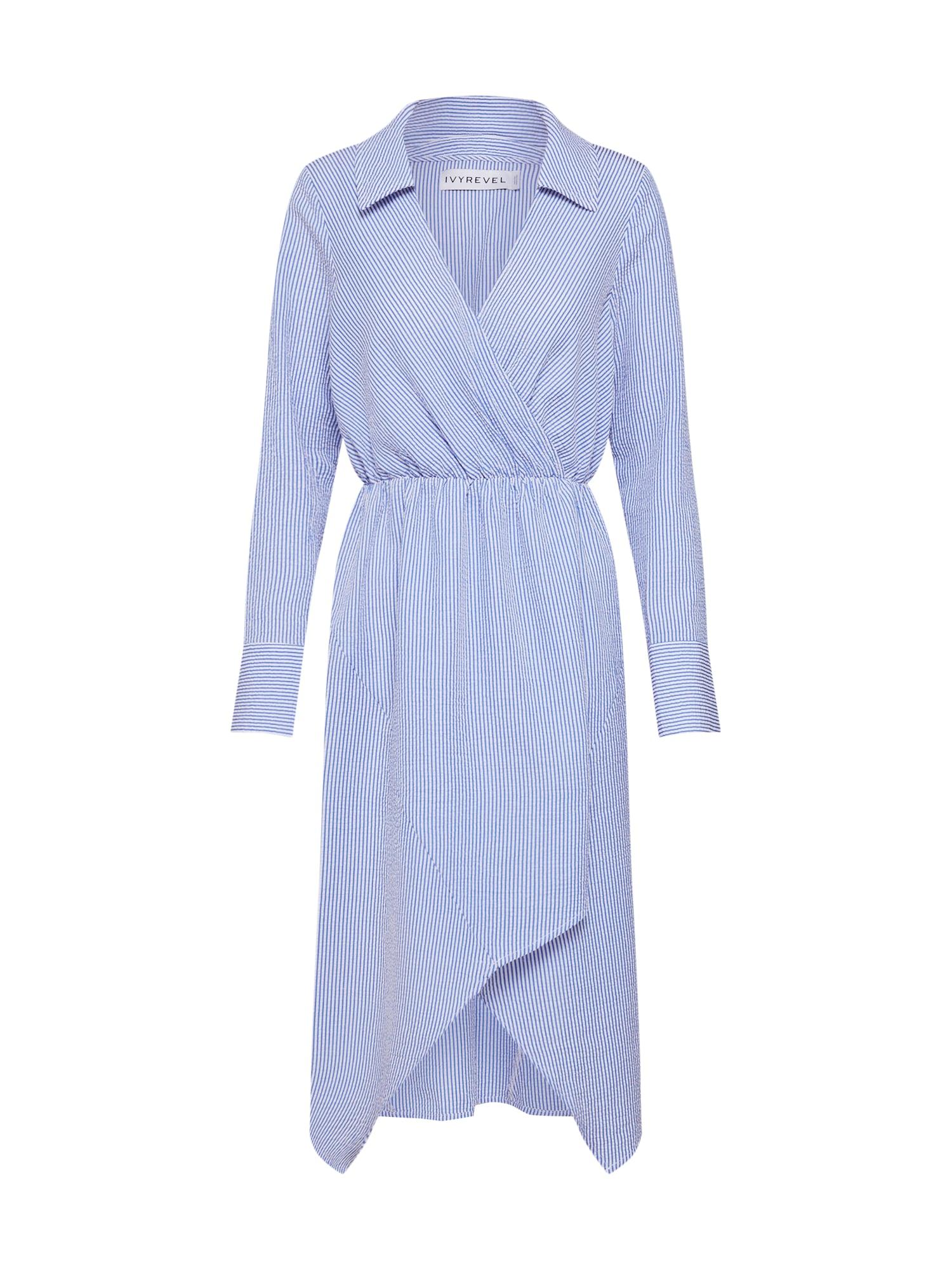 Košilové šaty modrá bílá IVYREVEL