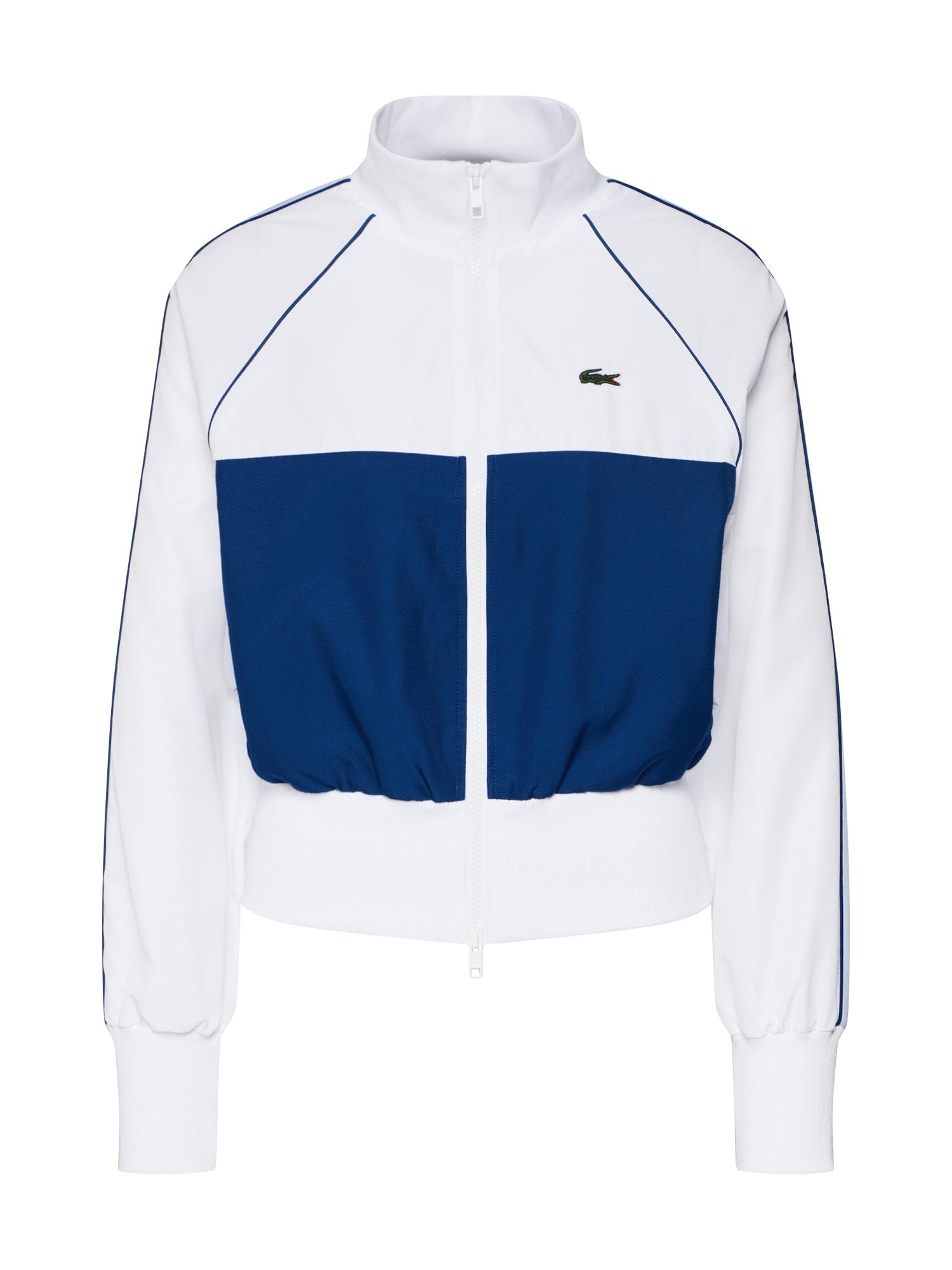 Mikina s kapucí tmavě modrá bílá LACOSTE