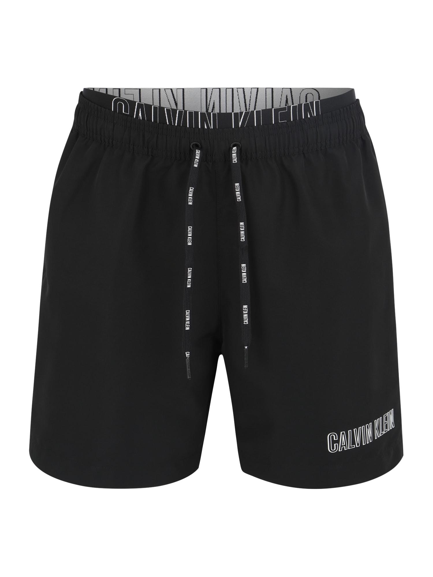 Plavecké šortky MEDIUM DOUBLE WAISTBAND černá Calvin Klein Swimwear
