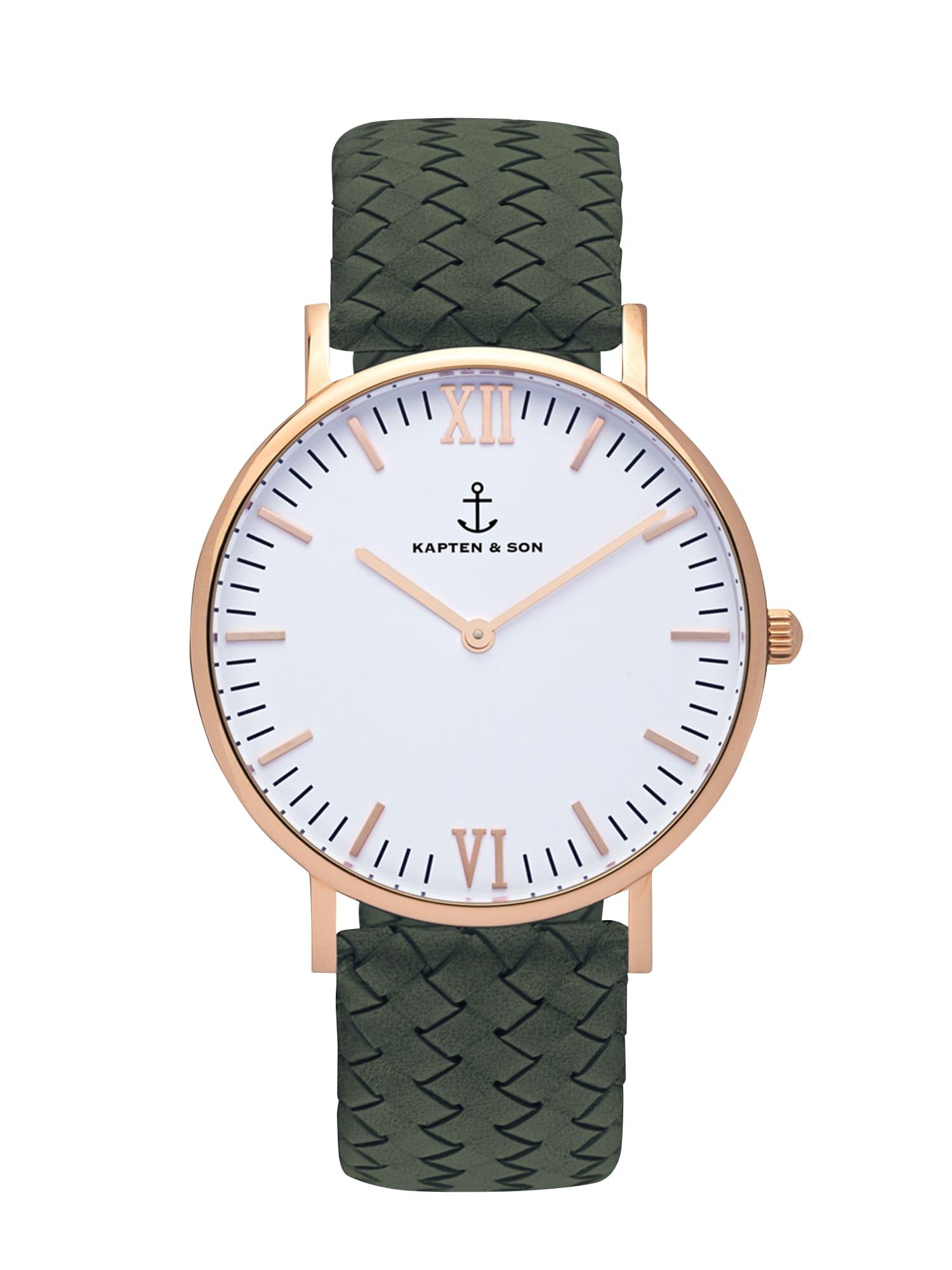 Analogové hodinky Campus bronzová zelená bílá Kapten & Son