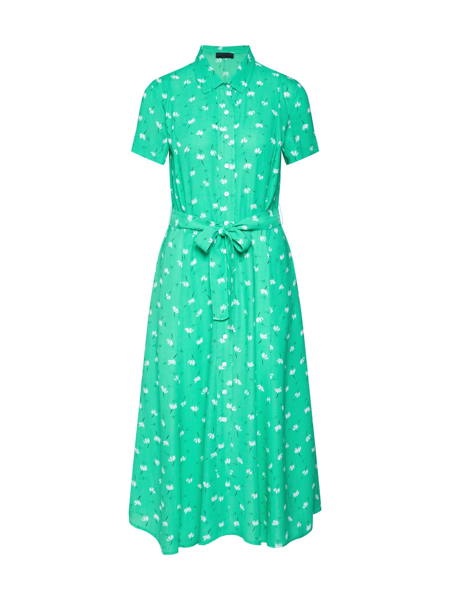 Košilové šaty Limelight Anemone zelená bílá 2ND DAY