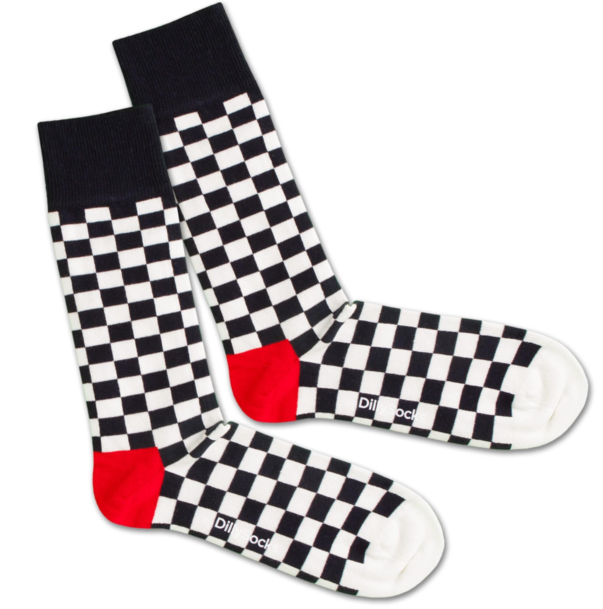 Ponožky Chess And Check červená černá bílá DillySocks