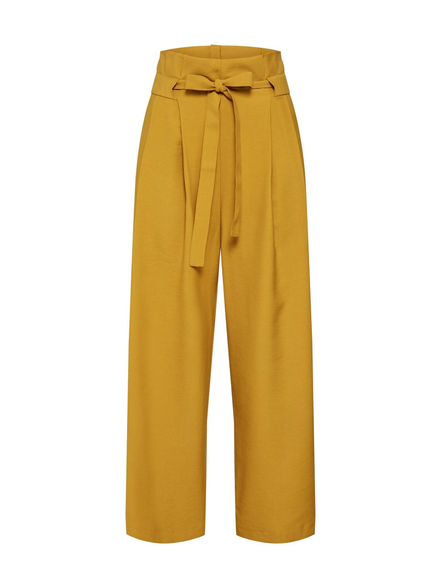 Kalhoty se sklady v pase THE ROSIE PANT hořčicová Native Youth