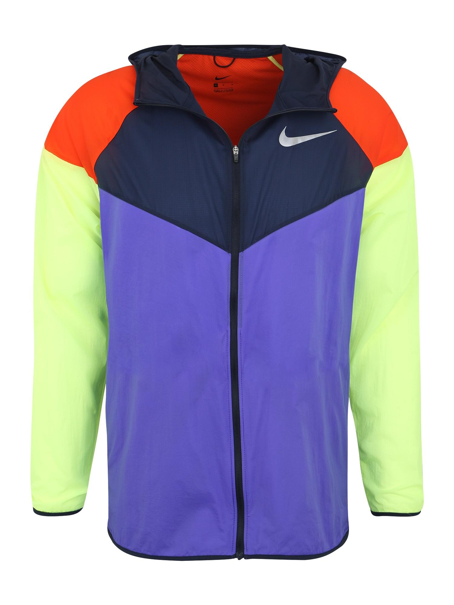 Sportovní bunda M NK WINDRUNNER limetková fialová černá NIKE