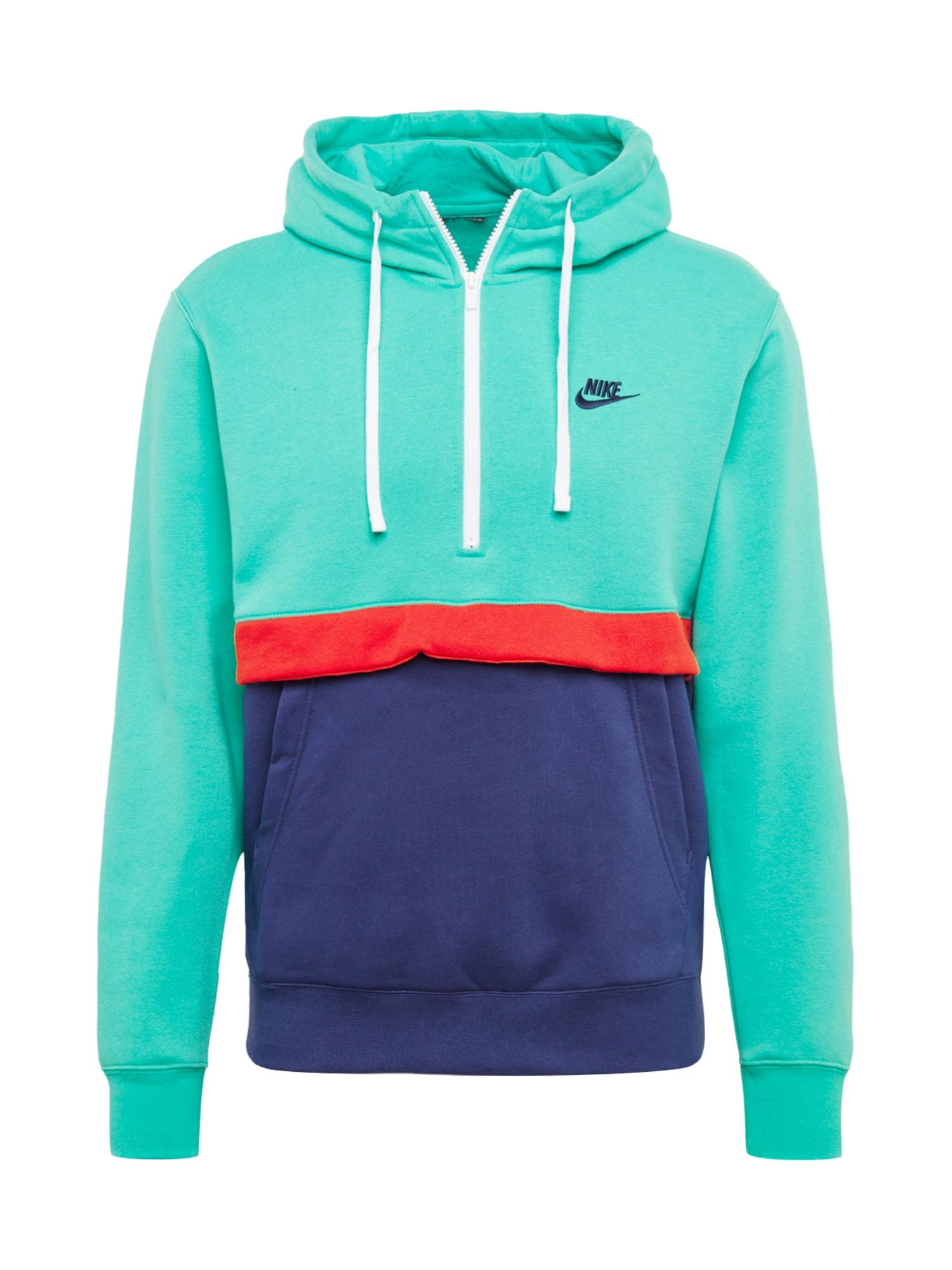 Nike Sportswear Mikina 'Club'  tyrkysová / tmavě modrá / červená