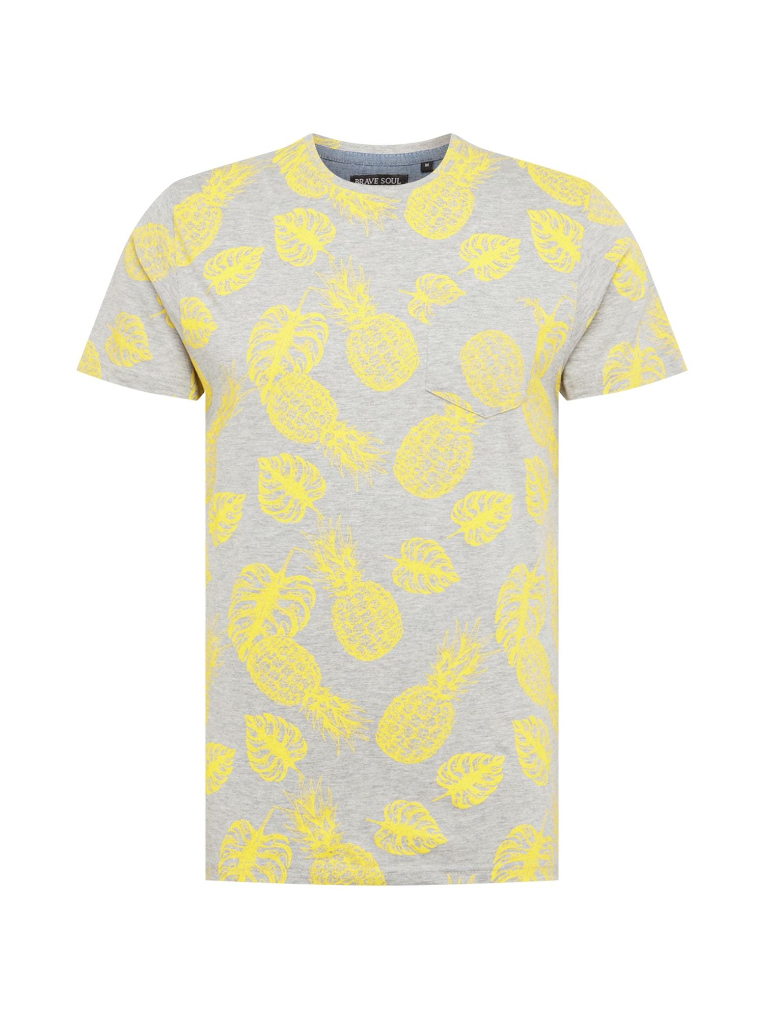 Tričko žlutá světle šedá BRAVE SOUL