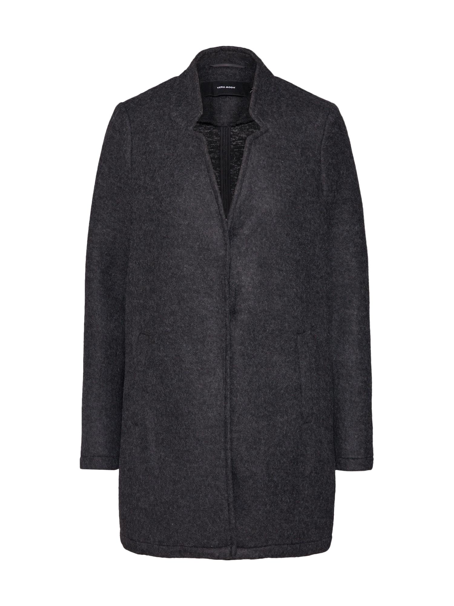 Přechodný kabát VMKATRINE BRUSHED 34 JACKET tmavě šedá VERO MODA