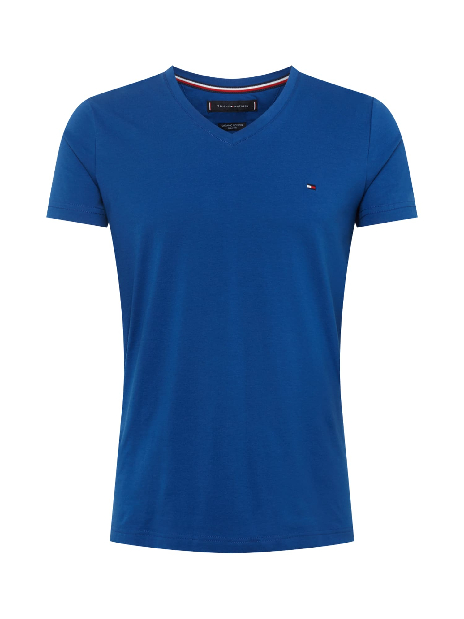 Tričko STRETCH SLIM FIT VNECK TEE modrá TOMMY HILFIGER