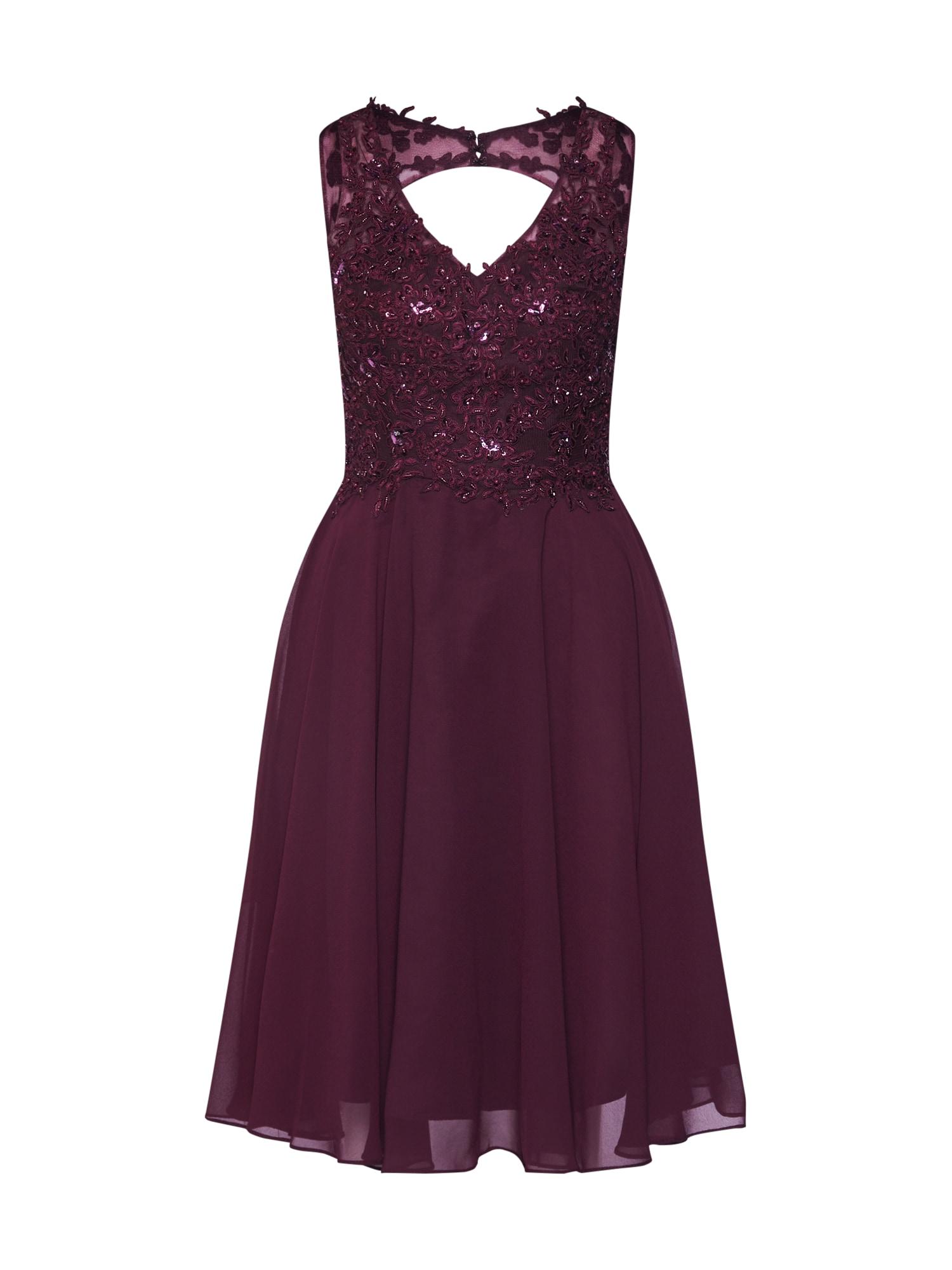 Koktejlové šaty švestková Unique