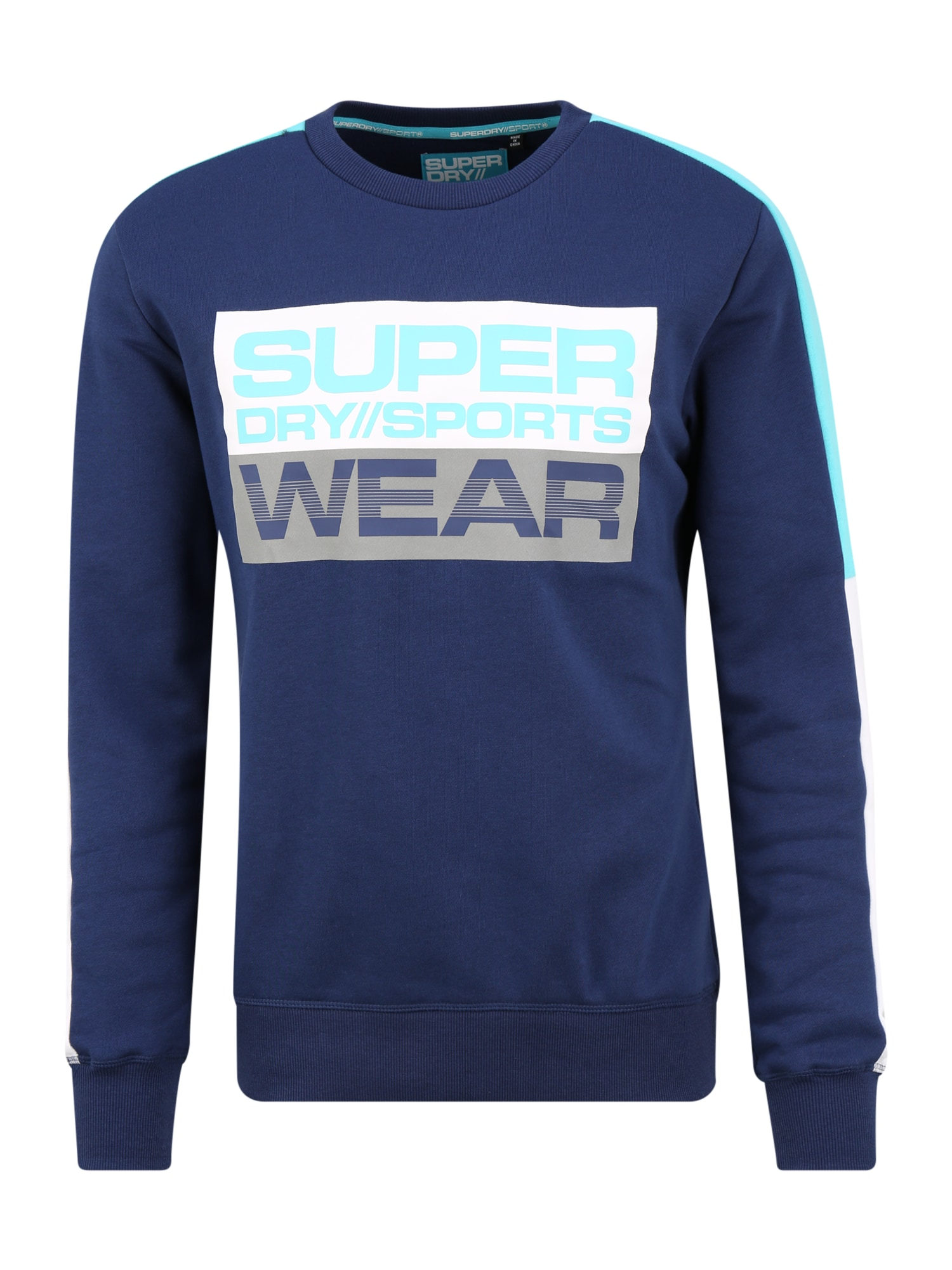 Superdry Mikina  aqua modrá / tmavě modrá
