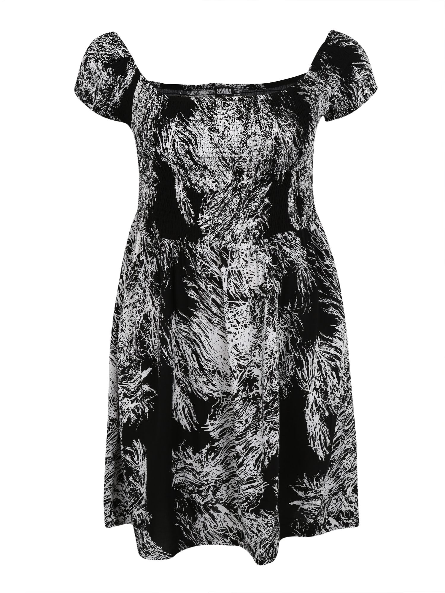 Šaty Smoked černá bílá Urban Classics Curvy