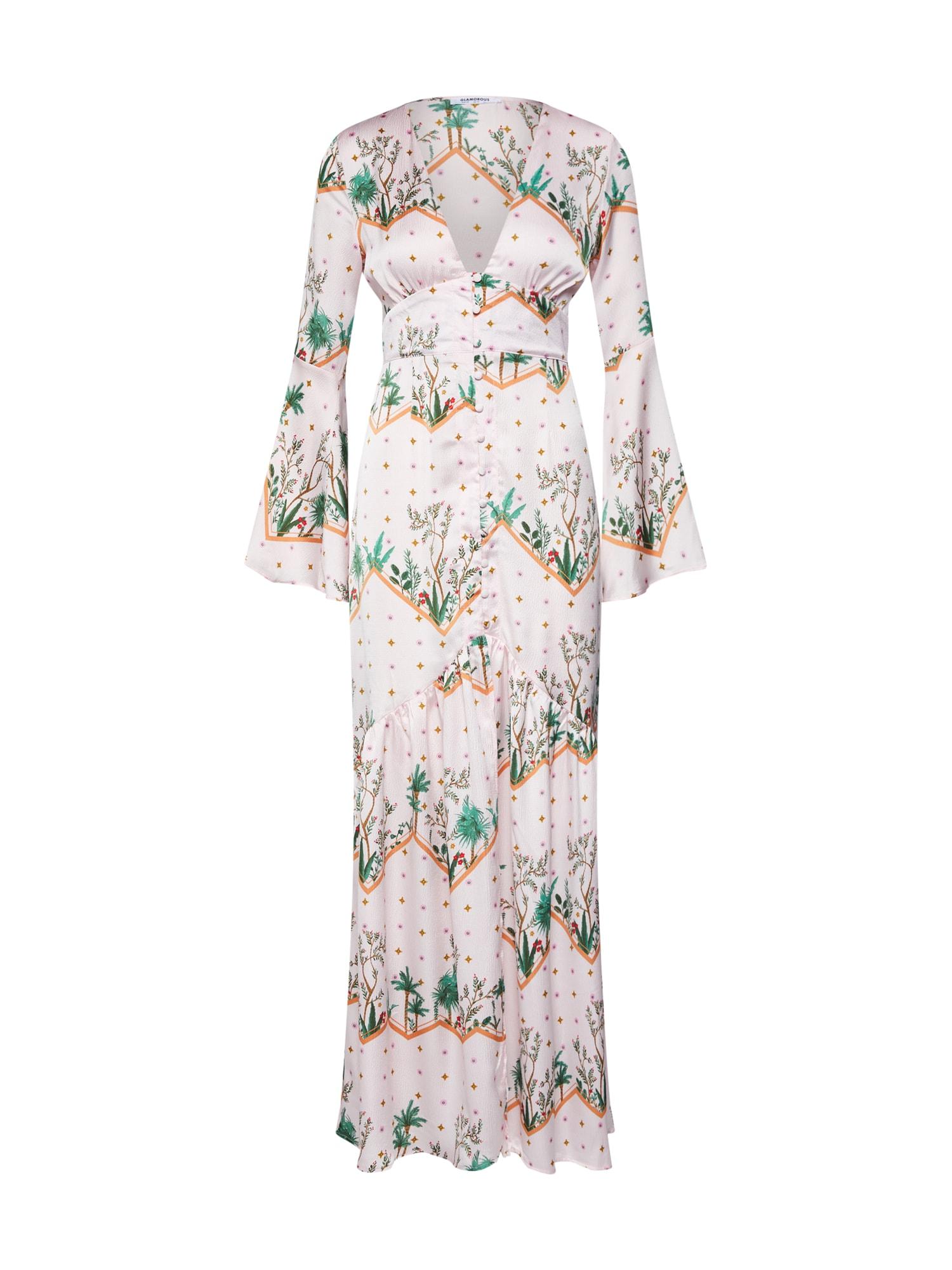 Šaty zelená mix barev růžová GLAMOROUS